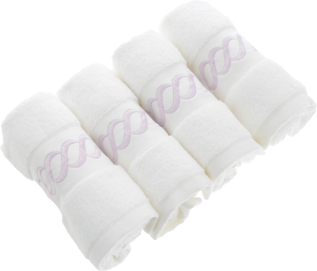 Набор махровых полотенец Issimo Home Pauline, цвет: белый, лиловый, 30 x 50 см, 4 шт4735Набор полотенец Issimo Home Pauline выполнен из натуральной махровой ткани (100% хлопок). Изделия отлично впитывают влагу, быстро сохнут и не теряют форму даже после многократных стирок. Рекомендации по уходу: - режим стирки при 40°C, - допускается обычная химчистка, - отбеливание запрещено, - глажка при температуре подошвы утюга до 110°С, - барабанный отжим запрещен. Размер полотенца: 30 x 50 см.