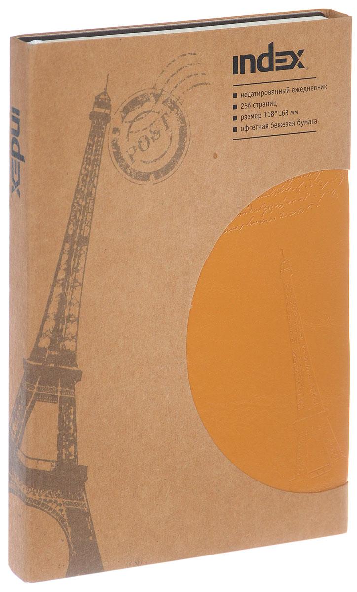 Index Ежедневник Paris недатированный 128 листов цвет оранжевыйIDN111/A6/ORНедатированный ежедневник Index Paris - это один из удобных способов систематизации всех предстоящих событий и незаменимый помощник для каждого. Мягкая обложка выполнена из высококачественной искусственной кожи и украшена тисненым изображением Эйфелевой башни. Внутренний блок на 256 страниц выполнен из состаренной офсетной бумаги. Ежедневник содержит страницу для заполнения личных данных, календарь с 2016 по 2017 год, телефонно-адресную книгу, а также ляссе для быстрого поиска нужной страницы. Все планы и записи всегда будут у вас перед глазами, что позволит легко ориентироваться в графике дел, событий и встреч.