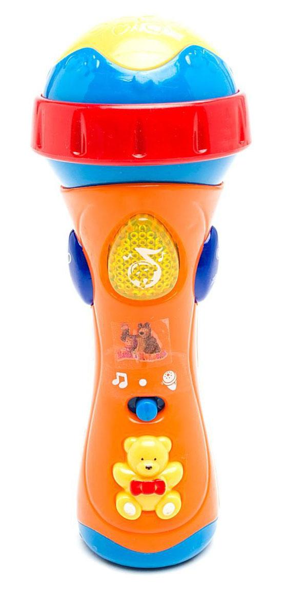 Играем вместе Развивающая игрушка Микрофон Маша и Медведь838-31Развивающая игрушка Играем вместе Микрофон Маша и Медведь специально разработана для малышей. Форма микрофона выполнена так, что малышу будет удобно держать его в руке и одновременно нажимать на кнопки, меняя режимы. Играя с микрофоном, ребенок разовьет чувство ритма, запомнит названия и голоса 9 животных. С функцией караоке ваша малыш не будет скучать. Нажимая на яркие светящиеся кнопки, слушая веселые песенки и забавные мелодии, ваш непоседа проведет время увлекательно и с пользой, не скучая ни минуты. Развивающая игрушка Играем вместе Микрофон Маша и Медведь способствует развитию речи и музыкальной памяти, моторики и артистизма, визуального и слухового восприятия. Рекомендуется докупить 3 батарейки типа АА (товар комплектуется демонстрационными).