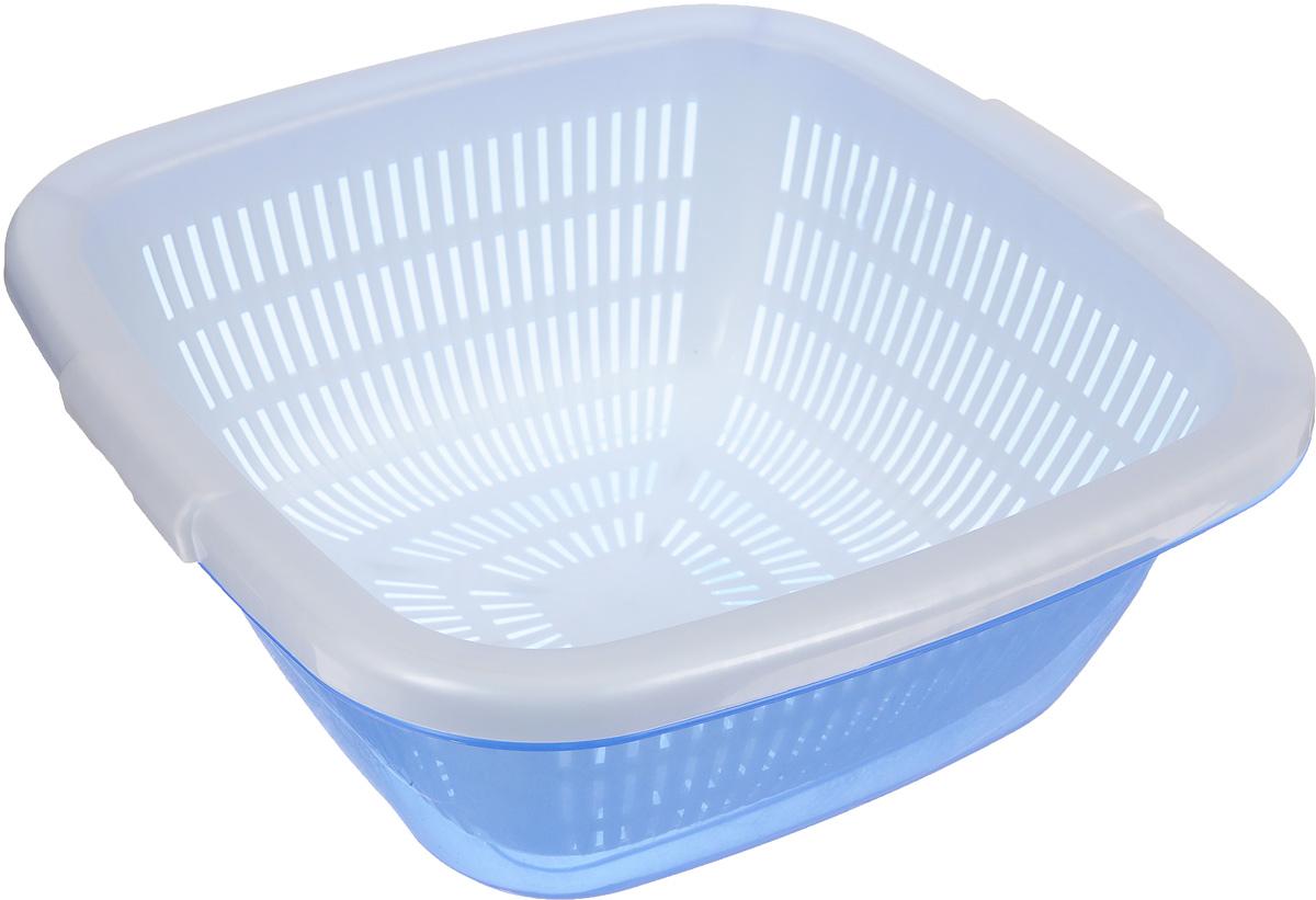 Дуршлаг Dunya Plastik, с поддоном, цвет: белый, голубой, 6 л10222