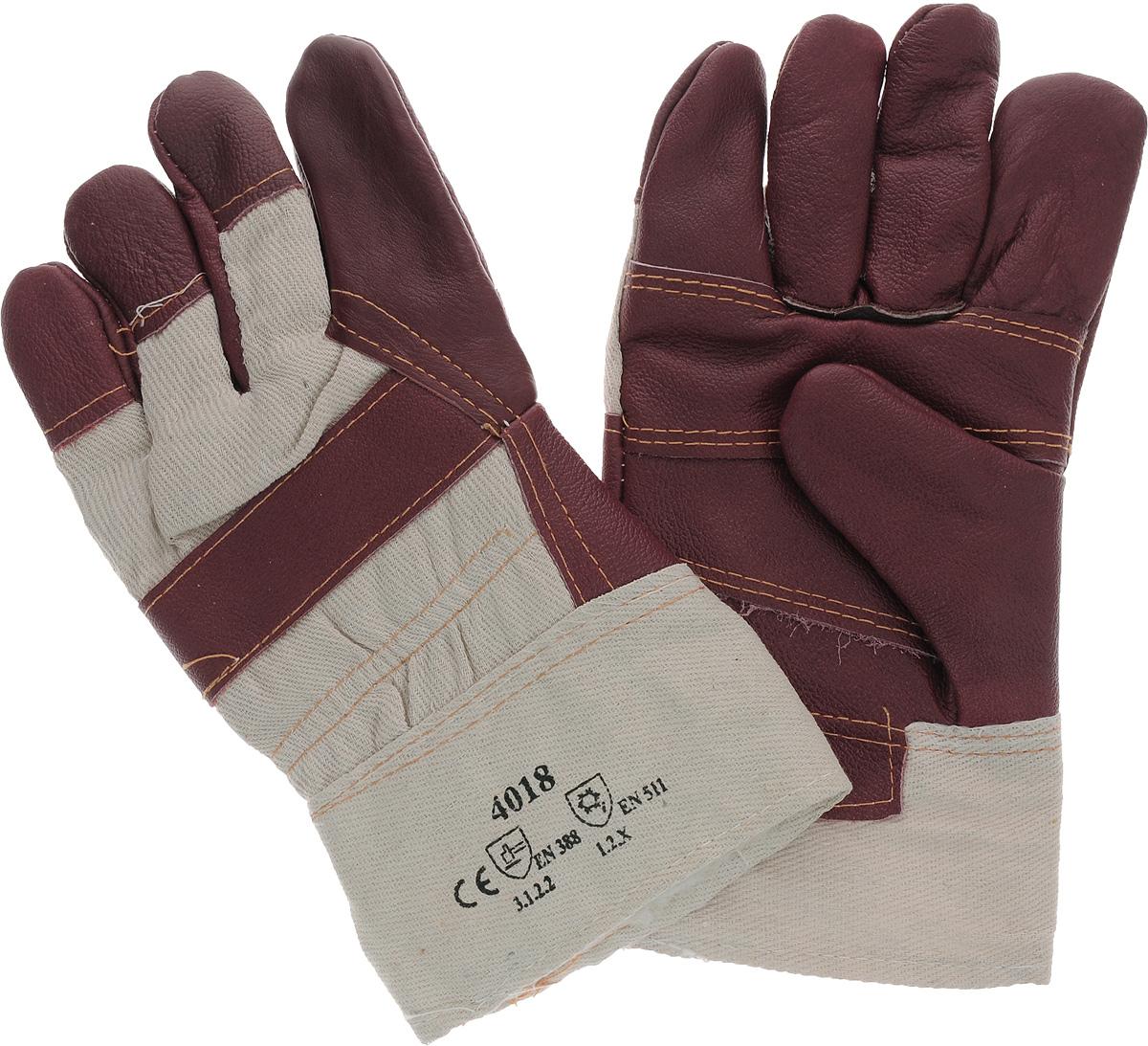 Перчатки защитные Рос, кожаные, цвет: темно-красный12445_темно-красный