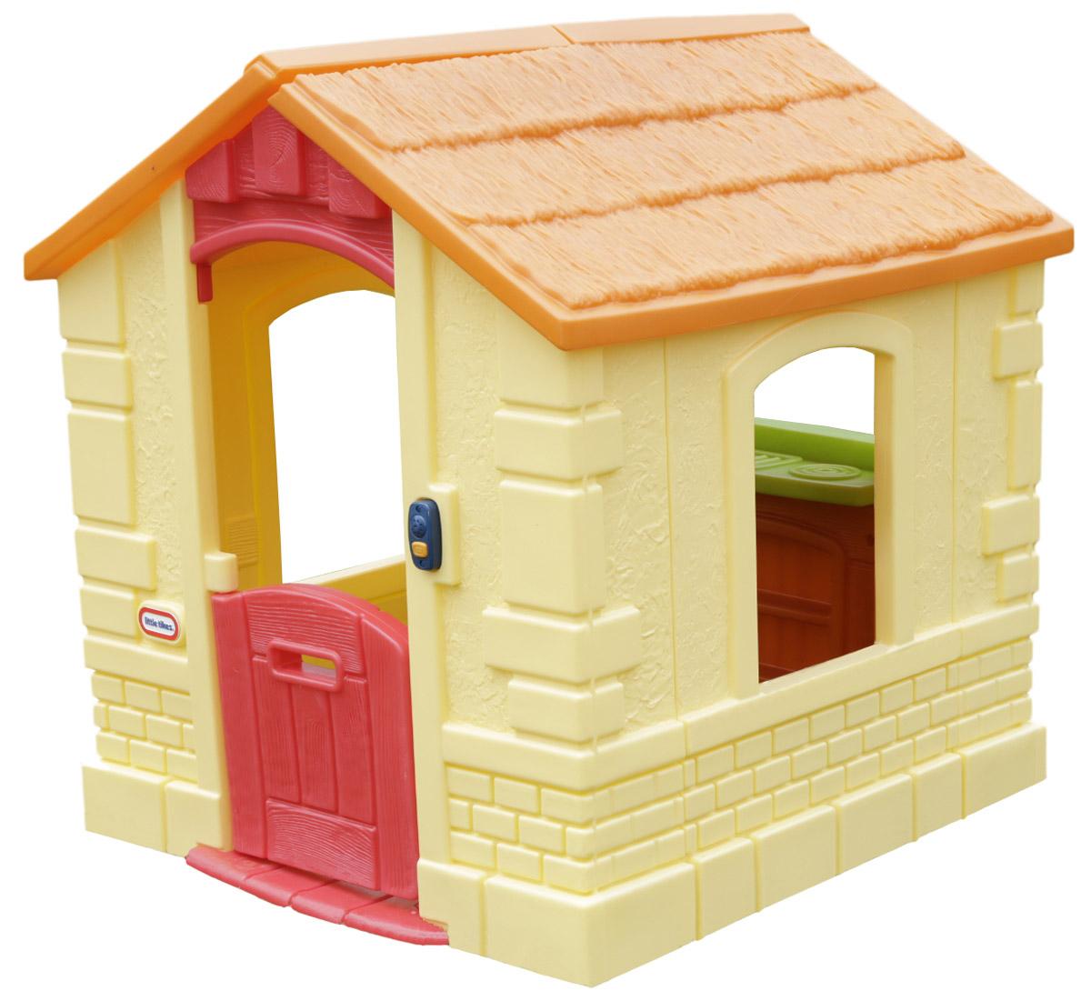 Little Tikes Игровой домик цвет желтый172786Оригинальный домик занимает совсем немного места, однако внутри он достаточно просторный. Выполнен в нежных натуральных цветах и изготовлен из прочного водостойкого пластика. Ваш ребенок будет играть в нем круглый год. Голландская дверь, дверной звонок и место для почтовых писем. Для детей о т 1,5-5 лет.
