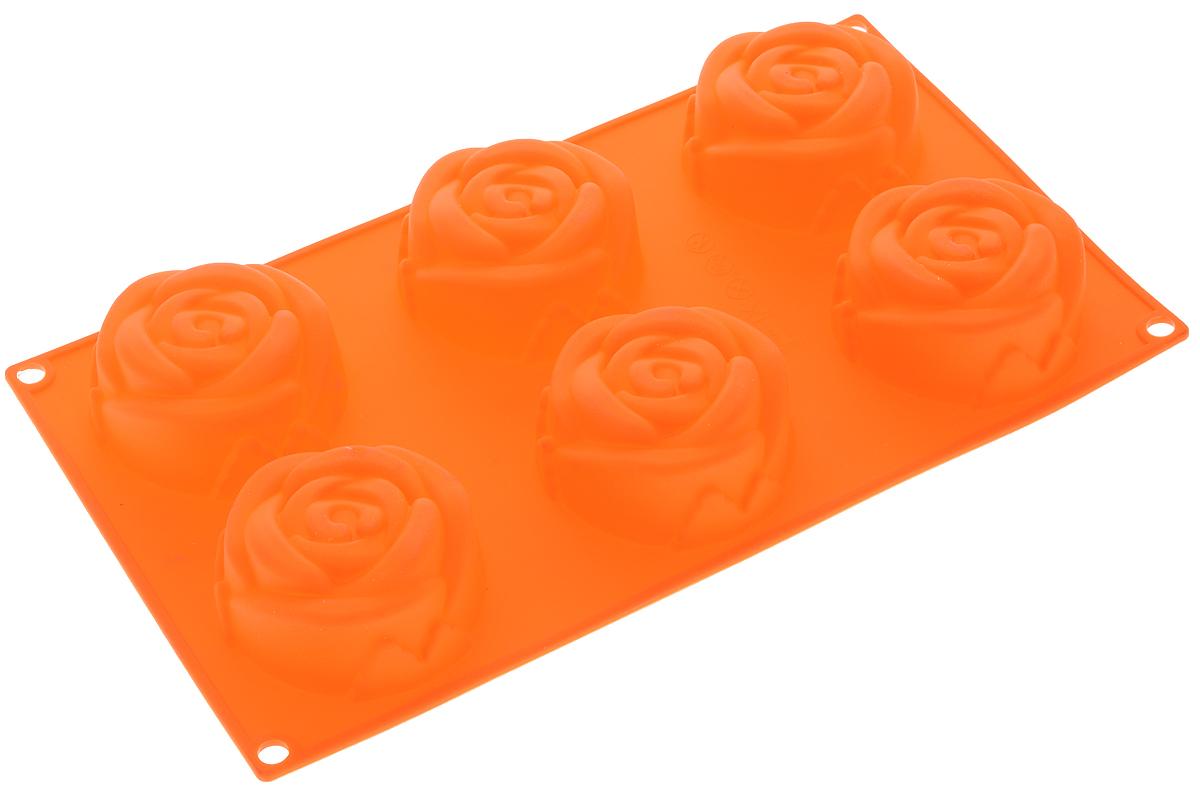 Форма для выпечки Mayer & Boch Розы, силиконовая, цвет: оранжевый, 6 ячеек21978Форма Mayer & Boch Розы, выполненная из силикона, будет отличным выбором для всех любителей домашней выпечки. Форма имеет 6 ячеек в виде роз. Материал устойчив к фруктовым кислотам, может быть использован в духовках и микроволновых печах (выдерживает температуру от -40°С до +250°С). Порадуйте своих родных и близких любимой выпечкой в необычном исполнении. Размер ячейки: 7 х 7 х 3 см.