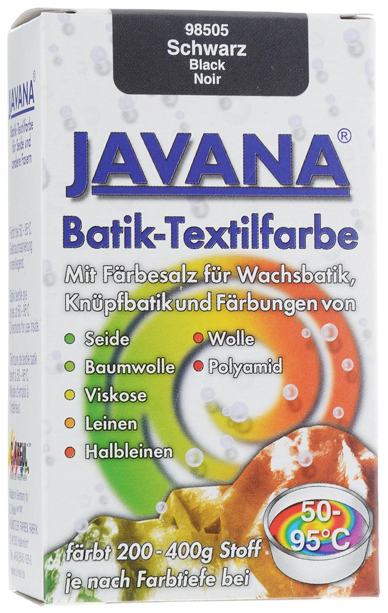 Краситель порошковый для ткани Kreul Javana Batik, горячей фиксации, цвет: черный, 75 гKR-98505Краситель порошковый для ткани Kreul Javana Batik предназначен для окрашивания шелка, хлопка, льна, вискозы, шерсти и полиамида. Способ применения: 1 пакет красителя растворить в 6 литрах воды для окрашивания 400 г сухой ткани. Для шелка, шерсти - добавить 300 мл уксуса. Поставить на водяную баню при умеренной температуре (от +50°С до +90°С), постоянно помешивая в течение часа. Дать остыть ткани в красителе, прополоскать в теплой воде. Стирать отдельно при температуре 40°С. Батик - древнейшее искусство декорирования текстиля и предметов интерьера. Это самый древний вид росписи из существующих в наше время. Он известен уже более 2000 лет. Изделия из расписанных тканей находят утилитарное применение в одежде, аксессуарах и декоре современных интерьеров. Используя новые техники и материалы, вы можете создать индивидуальный стиль, привнести в жизнь яркие краски, тепло и уют.