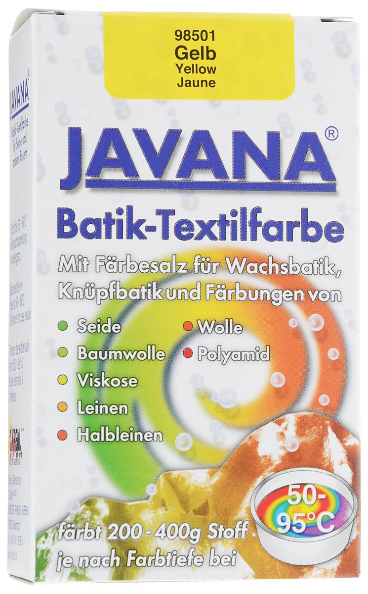 Краситель порошковый для ткани Kreul Javana Batik, горячей фиксации, цвет: желтый, 75 гKR-98501Краситель порошковый для ткани Kreul Javana Batik предназначен для окрашивания шелка, хлопка, льна, вискозы, шерсти и полиамида. Способ применения: 1 пакет красителя растворить в 6 литрах воды для окрашивания 400 г сухой ткани. Для шелка, шерсти - добавить 300 мл уксуса. Поставить на водяную баню при умеренной температуре (от +50°С до +90°С), постоянно помешивая в течение часа. Дать остыть ткани в красителе, прополоскать в теплой воде. Стирать отдельно при температуре 40°С. Батик - древнейшее искусство декорирования текстиля и предметов интерьера. Это самый древний вид росписи из существующих в наше время. Он известен уже более 2000 лет. Изделия из расписанных тканей находят утилитарное применение в одежде, аксессуарах и декоре современных интерьеров. Используя новые техники и материалы, вы можете создать индивидуальный стиль, привнести в жизнь яркие краски, тепло и уют.