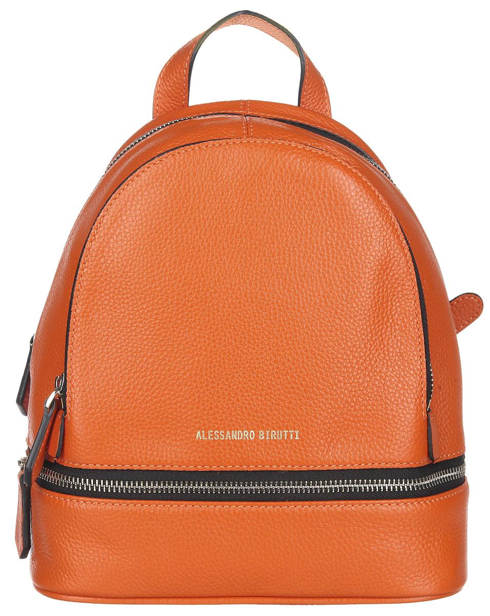 Рюкзак женский Alessandro Birutti, цвет: оранжевый. 13-191-113-191-1Стильный женский рюкзак Alessandro Birutti выполнен из натуральной кожи. Лицевая сторона оформлена декоративной молнией. Изделие содержит одно основное отделение, закрывающееся на застежку-молнию. Внутри расположены прорезной карман на застежке- молнии и накладной открытый карман. Снаружи, на передней стенке находится нашивкой карман на застежке-молнии. Рюкзак оснащен удобными лямками регулируемой длины и ручкой для переноски в руке. Практичный и стильный аксессуар позволит вам завершить свой образ и быть неотразимой.