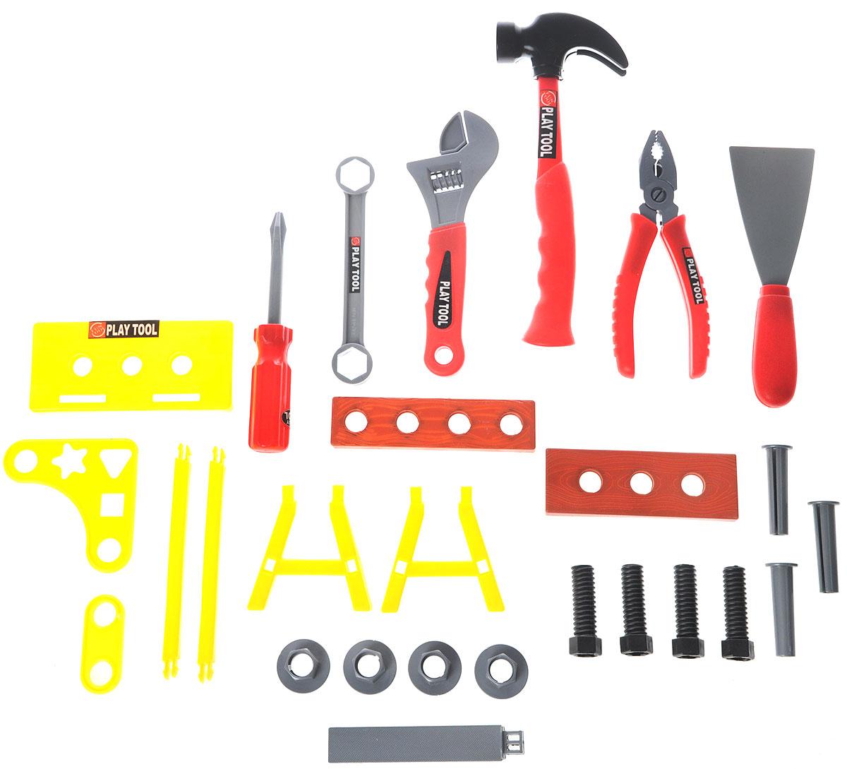 Altacto Игровой набор инструментов Домашний ремонтALT0202-011Игровой набор инструментов Altacto Домашний ремонт станет отличным подарком для маленького мастера. В наборе имеется все, что может пригодиться юному строителю: молоток, пассатижи, разводной ключ, гаечный ключ, отвертка, шпатель, верстак, доски, скобяные изделия. Малыш сможет отремонтировать игрушки и устранить все неисправности в доме, помогая папе. Игры с этим набором способствуют развитию воображения и познавательного мышления. Все изделия набора изготовлены из нетоксичного и качественного материала.