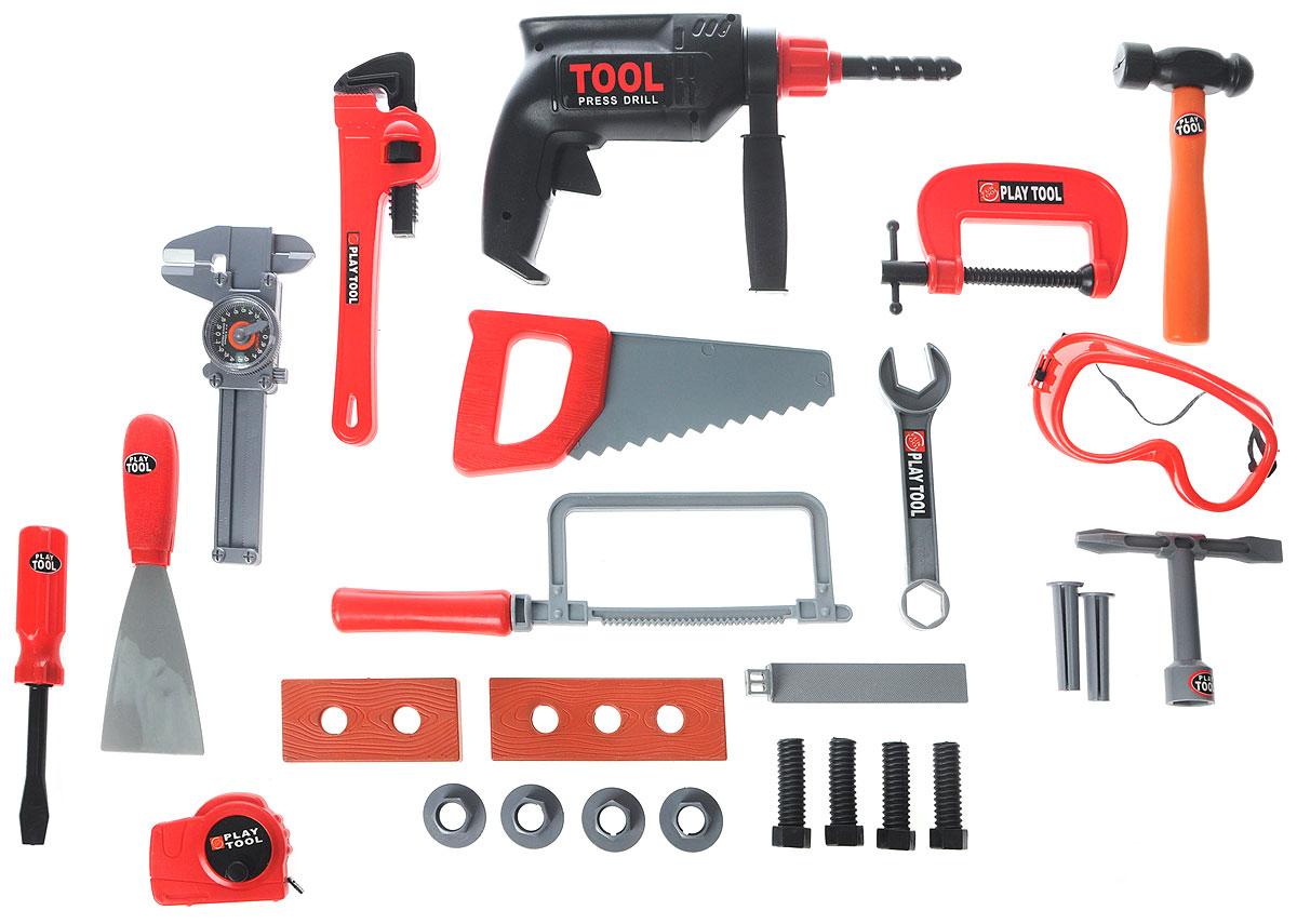 Altacto Игровой набор инструментов Мини-стройкаALT0202-018Игровой набор инструментов Altacto Мини-стройка станет отличным подарком для маленького мастера. В наборе имеется все, что может пригодиться юному строителю: инерционная дрель, лобзик, ручная пила, струбцина, 2 отвертки, штангенциркуль, молоток, напильник, гаечный ключ, разводной ключ, рулетка, шпатель, доски, скобяные изделия. Малыш сможет отремонтировать игрушки и устранить все неисправности в доме, помогая папе. Игры с этим набором способствуют развитию воображения и познавательного мышления. Все изделия набора изготовлены из нетоксичного и качественного материала.