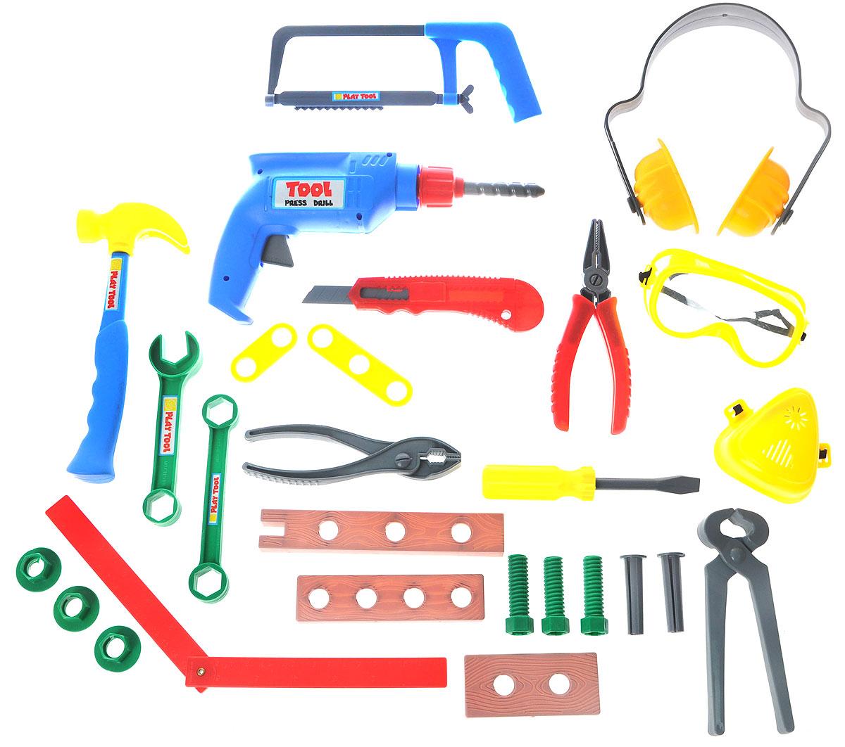 Altacto Игровой набор инструментов ГаражныйALT0202-020Игровой набор инструментов Altacto Гаражный станет отличным подарком для маленького мастера. В наборе имеется все, что может пригодиться юному строителю: инерционная дрель, ножовка, молоток, 2 гаечных ключа, нож, плоскогубцы, защитные наушники, очки, респиратор, клещи, кусачки, отвертка, угольник, доски, скобяные изделия. Малыш сможет отремонтировать игрушки и устранить все неисправности в доме, помогая папе. Игры с этим набором способствуют развитию воображения и познавательного мышления. Все изделия набора изготовлены из нетоксичного и качественного материала.