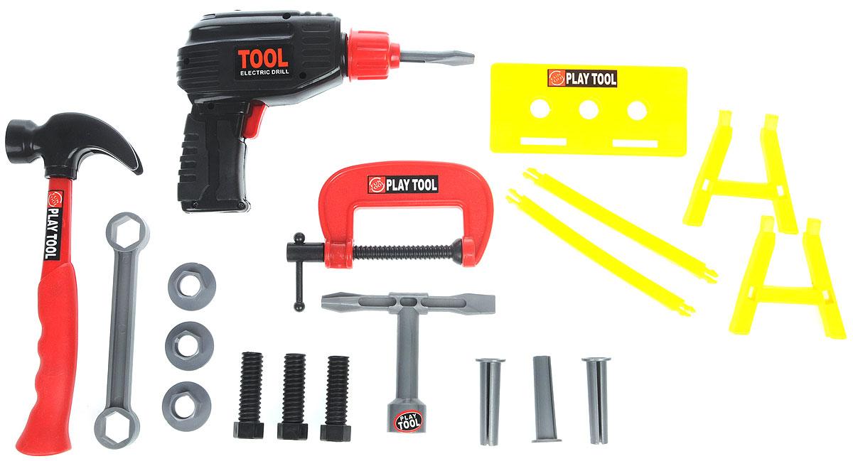Altacto Игровой набор инструментов Ремонтный наборALT0202-016Игровой набор инструментов Altacto Ремонтный набор станет отличным подарком для маленького мастера. В наборе имеется все, что может пригодиться юному строителю: электрическая дрель, молоток, струбцина, гаечный ключ, отвертка, сборный верстак, скобяные изделия. Все инструменты упакованы в пластиковый ящик с прозрачной крышкой. Малыш сможет отремонтировать игрушки и устранить все неисправности в доме, помогая папе. Игры с этим набором способствуют развитию воображения и познавательного мышления. Все изделия набора изготовлены из нетоксичного и качественного материала. Для работы дрели необходимы 2 батарейки типа АА (не входят в комплект).