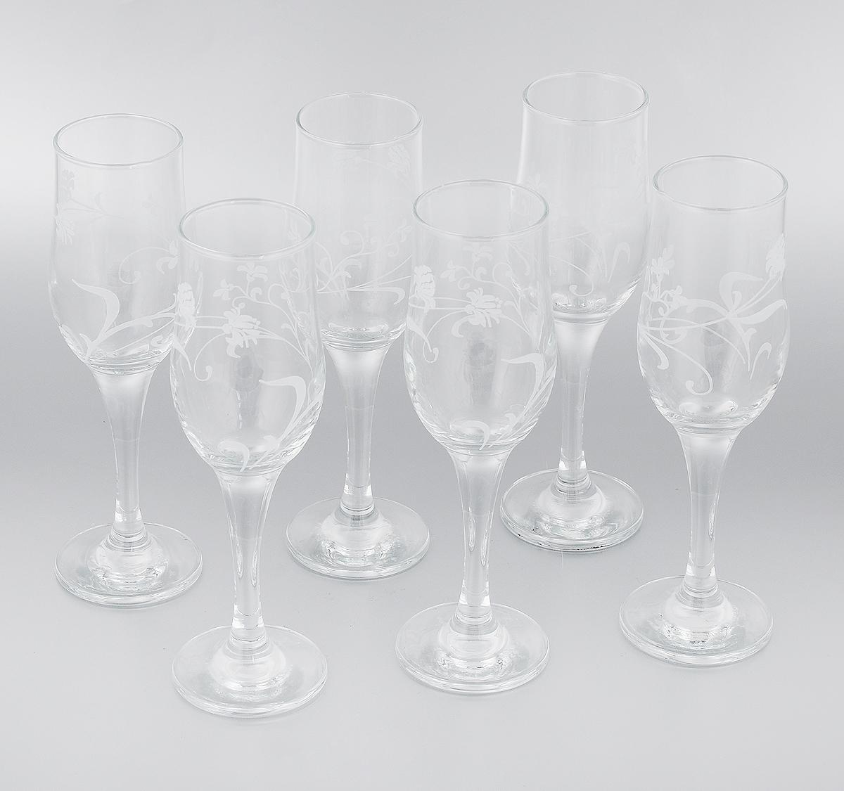 Набор фужеров для шампанского Мусатов Флер, 200 мл, 6 шт160/07Набор Мусатов Флер состоит из шести классических фужеров, выполненных из прочного стекла. Изделия сочетают в себе элегантный дизайн и функциональность. Набор фужеров Мусатов Флер прекрасно оформит праздничный стол и создаст приятную атмосферу за романтическим ужином. Такой набор также станет хорошим подарком к любому случаю. Можно мыть в посудомоечной машине. Диаметр фужера (по верхнему краю): 5 см. Диаметр основания фужера: 6,5 см. Высота фужера: 20,5 см.