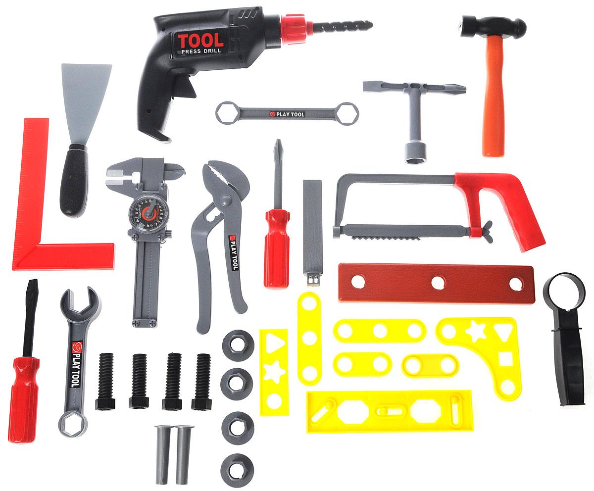 Altacto Игровой набор инструментов ПрофессионалALT0202-015Игровой набор инструментов Altacto Профессионал станет отличным подарком для маленького мастера. В наборе имеется все, что может пригодиться юному строителю: инерционная дрель с дополнительной рукояткой, 3 отвертки, молоток, уровень, строительный угольник, штангенциркуль, переставные клещи, ручная пила, 2 гаечных ключа, напильник, шпатель, доска, а также различные скобяные изделия. При нажатии на пусковой крючок дрели ее патрон вращается. Малыш сможет отремонтировать игрушки и устранить все неисправности в доме, помогая папе. Игры с этим набором способствуют развитию воображения и познавательного мышления. Все изделия набора изготовлены из нетоксичного и качественного материала.