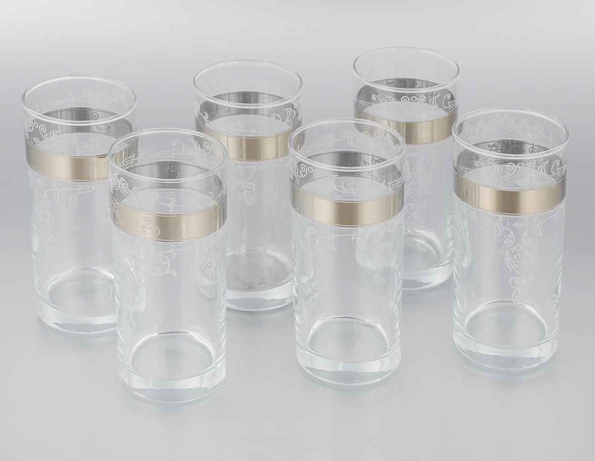 Набор стаканов для сока Мусатов Бьюти, 290 мл, 6 шт402/05Набор Мусатов Бьюти состоит из 6 стаканов, изготовленных из высококачественного натрий-кальций-силикатного стекла. Изделия оформлены красивой широкой окантовкой с оригинальным орнаментом и предназначены для подачи сока, а также воды и коктейлей. Такой набор прекрасно дополнит праздничный стол и станет желанным подарком в любом доме. Разрешается мыть в посудомоечной машине. Диаметр стакана (по верхнему краю): 6 см. Высота стакана: 13,5 см.