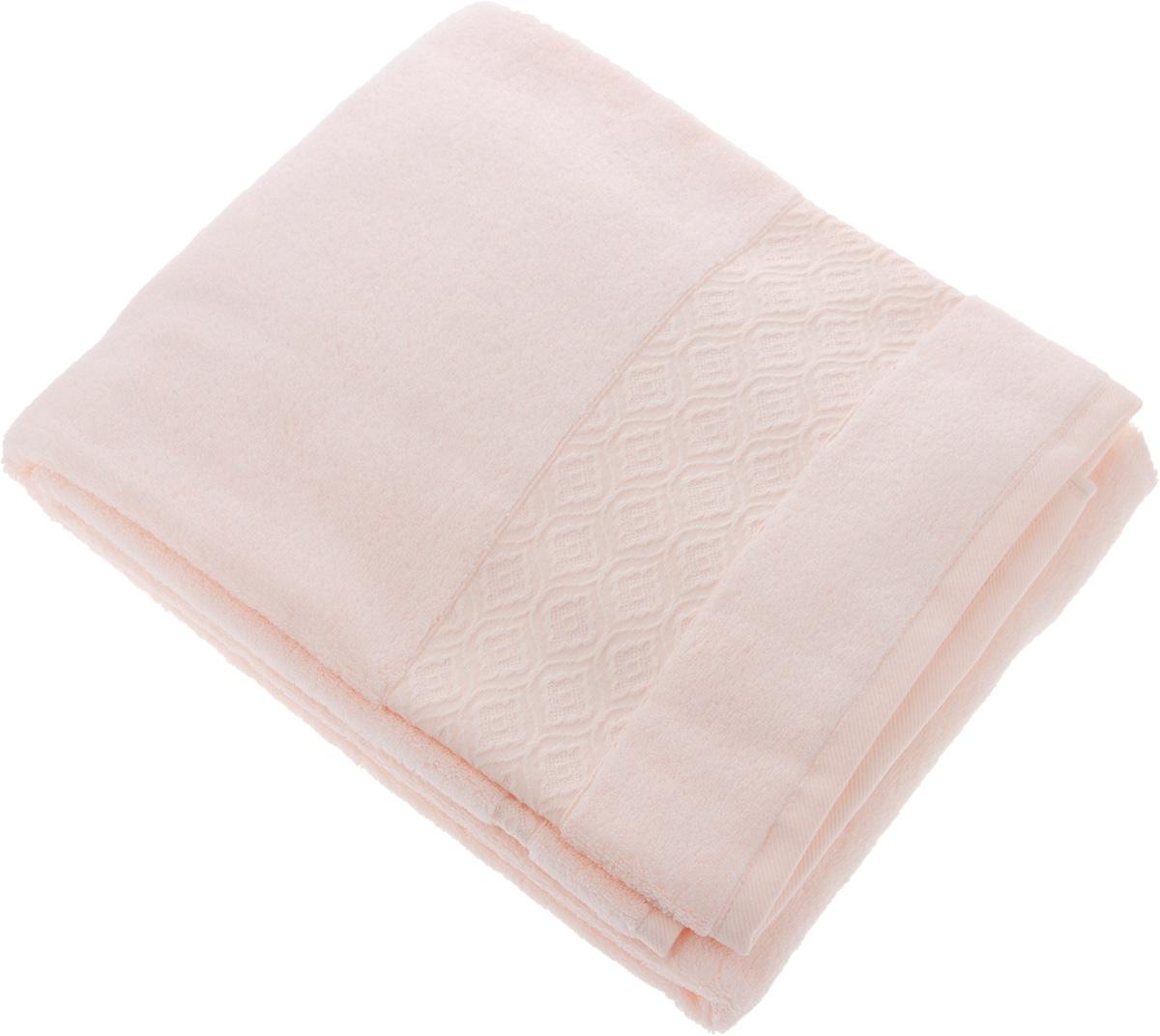 Полотенце Issimo Home Delphine, цвет: розовый, 90 x 150 см4709Полотенце Issimo Home Delphine выполнено из модала и хлопка. Такое полотенце обладает уникальными свойствами и характеристиками. Необычайная мягкость модала и шелковистый блеск делают изделие приятными на ощупь и практичными в использовании. Моментально впитывает влагу, сохраняет невесомость даже в мокром виде, быстро сохнет. Полотенце декорировано жаккардовым узором.