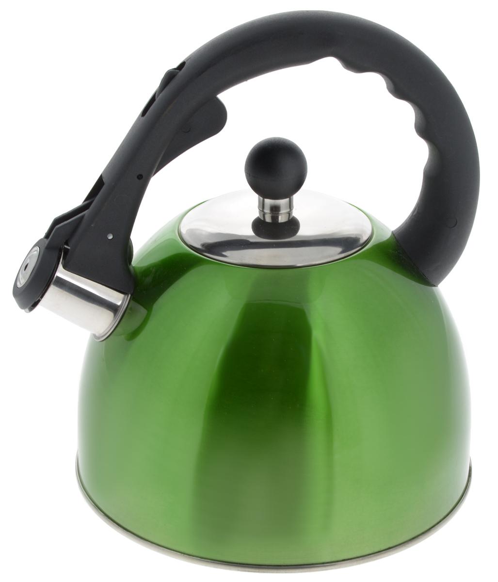 Чайник Mayer & Boch, со свистком, цвет: зеленый, 2,5 л. 2319823198_зеленыйЧайник Mayer & Boch изготовлен из высококачественной нержавеющей стали с трехслойным термоаккумулирующим дном, которое позволяет быстро распределять и долго удерживать тепло. Носик чайника оснащен откидным свистком, звуковой сигнал которого подскажет, когда закипит вода. Свисток открывается нажатием кнопки на ручке. Чайник снабжен эргономичной ручкой, выполненной из термостойкого нейлона. Чайник Mayer & Boch - качественное исполнение и стильное решение для вашей кухни. Подходит для использования на всех типах плит, кроме индукционной. Также изделие можно мыть в посудомоечной машине. Высота чайника (без учета ручки и крышки): 13,5 см. Диаметр основания чайника: 19 см. Диаметр чайника (по верхнему краю): 9 см.