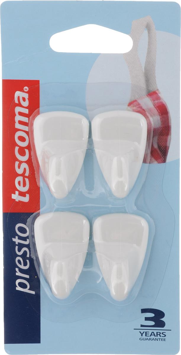 Набор крючков Tescoma Presto, 4 шт420836Набор крючков Tescoma Presto, выполненный из высококачественного пластика, идеально подходит для кухни и ванной комнаты. Для крепления изделий не требуется сверления, шурупов и гвоздей. Просто удалите защитную фольгу с крючка и приложите его к чистой поверхности и зафиксируйте нажатием. Крепятся к кафелю, стеклу, пластмассе и другим гладким поверхностям. Размер крючка: 3 х 2 х 1,5 см. Комплектация: 4 шт.