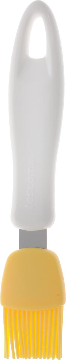 Кисть кондитерская Tescoma Presto, цвет: белый, желтый, длина 18 см420162Кондитерская кисть Tescoma Presto станет вашим незаменимым помощником на кухне. Рабочая часть кисточки выполнена из силикона, ручка изготовлена из пластика. Силикон абсолютно безвреден для здоровья, не впитывает запахи, не оставляет пятен, легко моется. Изделие оснащено петелькой для подвешивания. Кисть Tescoma Presto - практичный и необходимый подарок любой хозяйке. Можно мыть в посудомоечной машине. Длина кисти: 18 см. Размер рабочей части: 2,5 х 3 см.
