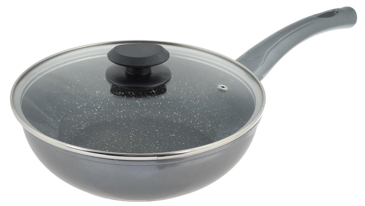 Сковорода-вок Mayer & Boch с крышкой, с антипригарным покрытием. Диаметр 24 см. 2356623566Сковорода-вок Mayer & Boch выполнена из литого алюминия с антипригарным покрытием особой прочности Titanium Granit и мраморной крошкой. Такое покрытие жаропрочное, защищает сковороду от царапин, экологически чистое и полностью безопасное, без вредных соединений и примесей. Благодаря высокой теплопроводности алюминия, посуда распределяет тепло по всей поверхности, экономя время и энергию. Рифленое дно позволяет готовить с минимальным количеством масла или без него. Эргономичная ручка, выполненная из бакелита, не нагревается и не скользит, а крышка из жаропрочного стекла с отверстием для вывода пара позволит следить за процессом приготовления еды. Подходит для всех типов плит, включая индукционных. Можно мыть в посудомоечной машине. Диаметр сковороды: 24 см. Высота стенки: 7 см. Длина ручки: 18,8 см.
