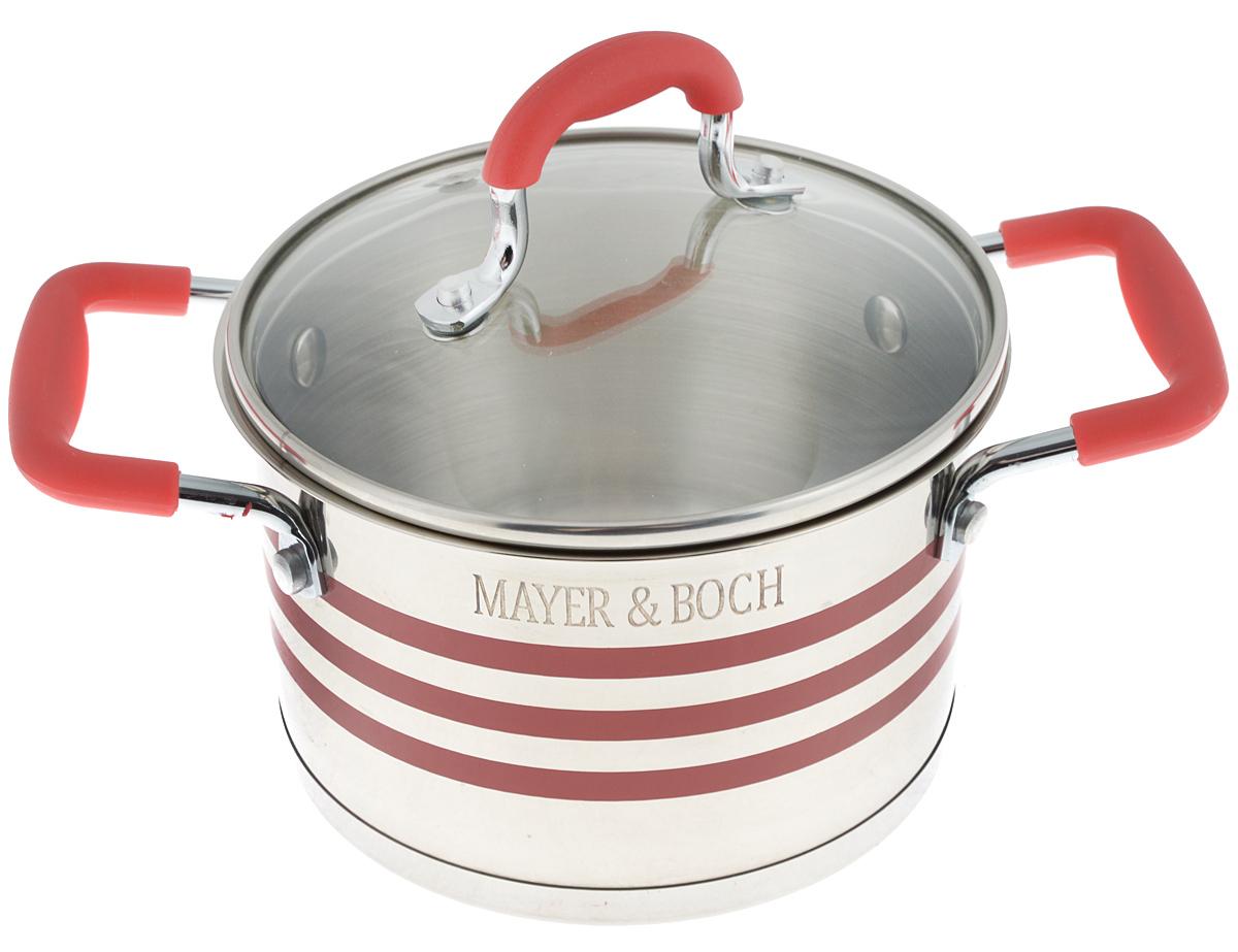 Кастрюля Mayer & Boch с крышкой, цвет: стальной, прозрачный, красный, 2,8 л. 2404524045Кастрюля Mayer & Boch изготовлена из высококачественной нержавеющей стали 18/10, которая придает ей привлекательный внешний вид, обеспечивает легкую очистку и долговечность. Многослойное термоаккумулирующее дно кастрюли с прослойкой из алюминия обеспечивает наилучшее распределение тепла. Ручки, оснащенные силиконовой накладкой, не перегреваются во время приготовления пищи. Крышка, выполненная из термостойкого стекла, позволяет следить за процессом приготовления пищи. Она оснащена отверстием для выхода пара и металлическим ободом. Форма кромки кастрюли предотвращает разливание жидкости, а благодаря правильности линий кромки в комбинации с крышкой обеспечивается максимальная герметизация между ними. Подходит для всех типов плит, включая индукционные. Можно мыть в посудомоечной машине. Яркий дизайн этой кастрюли придется по вкусу даже самой требовательной хозяйке. Диаметр кастрюли: 18 см. Ширина кастрюли (с...