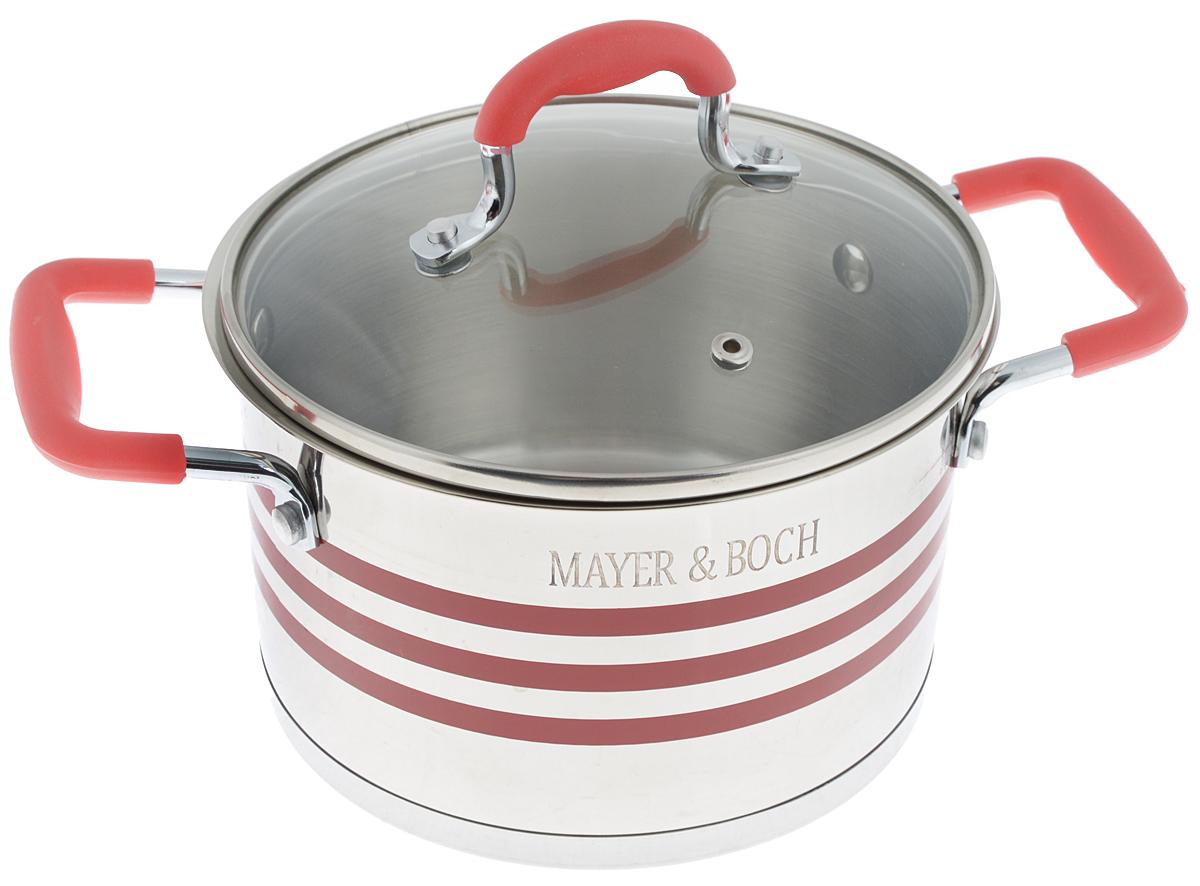 Кастрюля Mayer & Boch с крышкой, цвет: стальной, прозрачный, красный, 2 л. 2404424044Кастрюля Mayer & Boch изготовлена из высококачественной нержавеющей стали 18/10, которая придает ей привлекательный внешний вид, обеспечивает легкую очистку и долговечность. Многослойное термоаккумулирующее дно кастрюли с прослойкой из алюминия обеспечивает наилучшее распределение тепла. Ручки, оснащенные силиконовой накладкой, не перегреваются во время приготовления пищи. Крышка, выполненная из термостойкого стекла, позволяет следить за процессом приготовления пищи. Она оснащена отверстием для выхода пара и металлическим ободом. Форма кромки кастрюли предотвращает разливание жидкости, а благодаря правильности линий кромки в комбинации с крышкой обеспечивается максимальная герметизация между ними. Подходит для всех типов плит, включая индукционные. Можно мыть в посудомоечной машине. Яркий дизайн этой кастрюли придется по вкусу даже самой требовательной хозяйке. Диаметр кастрюли: 16 см. Ширина кастрюли (с...