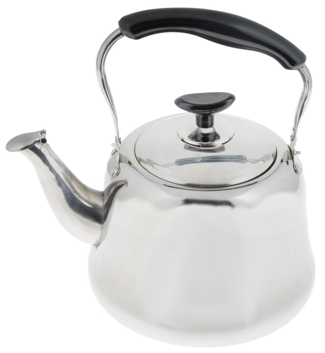 Чайник Mayer & Boch, со свистком, 3 л. 2350623506Чайник Mayer & Boch изготовлен из высококачественной нержавеющей стали. Он оснащен подвижной ручкой из бакелита, что делает использование чайника очень удобным и безопасным. Крышка снабжена свистком, позволяя контролировать процесс подогрева или кипячения воды. Капсулированное дно с прослойкой из алюминия обеспечивает наилучшее распределение тепла. Эстетичный и функциональный, с эксклюзивным дизайном, чайник будет оригинально смотреться в любом интерьере. Подходит для стеклокерамических, газовых и электрических плит. Высота чайника (без учета ручки и крышки): 13,5 см. Высота чайника (с учетом ручки и крышки): 26 см. Диаметр чайника (по верхнему краю): 11 см.
