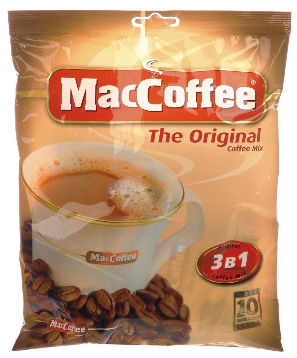 MacCoffee кофейный напиток 3 в 1, 10 шт8887290101110MacCoffee 3 в 1 - это приготовленный из кофе высшего сорта, сахара и сливок растворимый кофейный напиток, который не только наполняет энергией, но и дарит богатство ощущений благодаря насыщенному вкусу, а также удобству употребления в любое время при любых обстоятельствах.