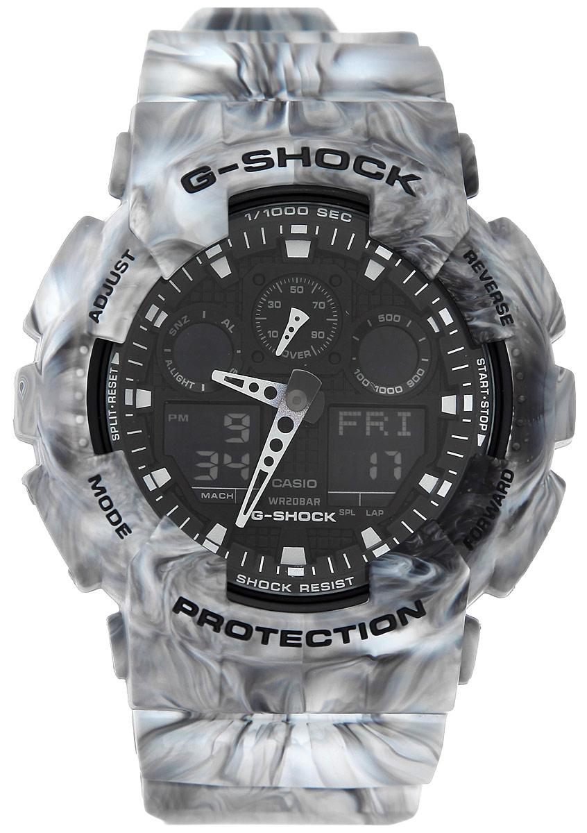 Часы наручные мужские Casio G-Shock, цвет: серый. GA-100MM-8AGA-100MM-8AМногофункциональные мужские часы Casio G-Shock, выполнены из минерального стекла, металлического сплава и полимерного материала. Корпус часов оформлен символикой бренда. Часы оснащены ударопрочным корпусом с защитой от воздействия магнитных полей и электронно-механическим механизмом, имеют степень влагозащиты равную 20 BAR, а также дополнены устойчивым к царапинам минеральным стеклом. Браслет часов оснащен застежкой-пряжкой, которая позволит с легкостью снимать и надевать изделие. Корпус часов дополнен мощной светодиодной подсветкой. Дополнительные функции: таймер, будильник, функция повтора будильника, секундомер, функция мирового времени, автоматический календарь, отображение времени в 12-часовом или 24-часовом формате, функция отображения скорости. Часы поставляются в фирменной упаковке. Многофункциональные часы Casio G-Shock подчеркнут отменное чувство стиля своего обладателя.