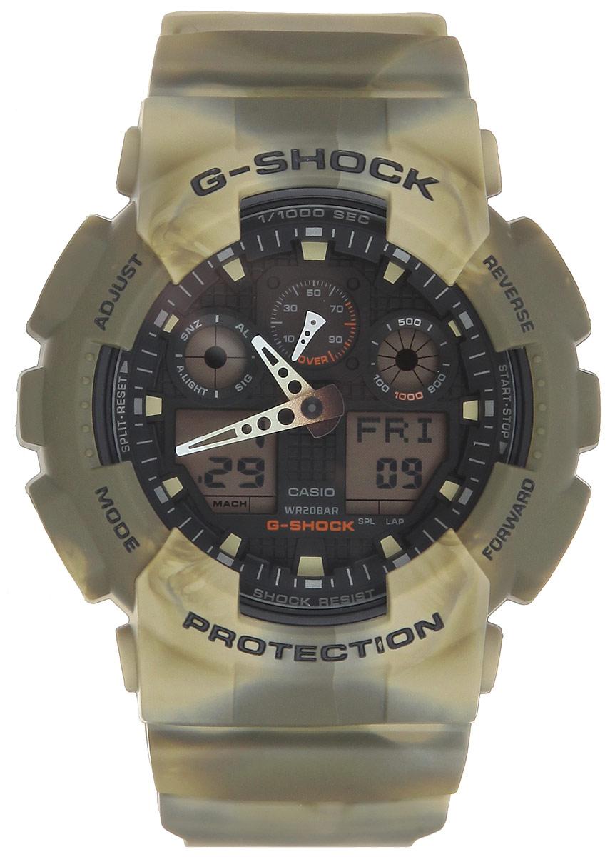 Часы наручные мужские Casio G-Shock, цвет: хаки. GA-100MM-5AGA-100MM-5AМногофункциональные мужские часы Casio G-Shock, выполнены из минерального стекла, металлического сплава и полимерного материала. Корпус часов оформлен символикой бренда. Часы оснащены ударопрочным корпусом с защитой от воздействия магнитных полей и электронно-механическим механизмом, имеют степень влагозащиты равную 20 BAR, а также дополнены устойчивым к царапинам минеральным стеклом. Браслет часов оснащен застежкой-пряжкой, которая позволит с легкостью снимать и надевать изделие. Корпус часов дополнен мощной светодиодной подсветкой. Дополнительные функции: таймер, будильник, функция повтора будильника, секундомер, функция мирового времени, автоматический календарь, отображение времени в 12-часовом или 24-часовом формате, функция отображения скорости. Часы поставляются в фирменной упаковке. Многофункциональные часы Casio G-Shock подчеркнут отменное чувство стиля своего обладателя.