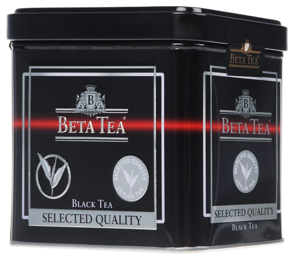 Beta Tea Отборное качество черный листовой чай, 100 г (жестяная банка)8690717005508Этот сорт чая поставляют лучшие чайные плантации Шри-Ланки. Любители крепкого чая с терпким вкусом по достоинству оценят Beta Tea Отборное качество.