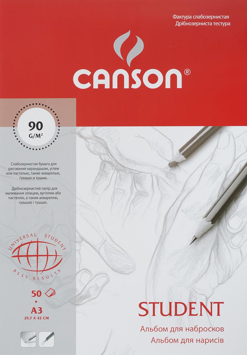 Альбом для набросков Canson Student, 50 листов, формат А3CN06148Альбом для набросков Canson Student - высококачественная бумаги белого цвета, изготовленная из 100% целлюлозы без применения кислот и оптических отбеливателей. Слабозернистая бумага подходит для рисования карандашом, углем или пастелью, а также акварелью, гуашью и тушью. Рисование в таких альбомах доставит максимальное удовольствие, как начинающим, так и профессиональным художникам. Обложка выполнена из мелованного картона с клеевым креплением. Рисование позволяет развивать творческие способности, кроме того, это увлекательный досуг. Размер листа: 29,7 х 42 см. Плотность: 90 г/м2.