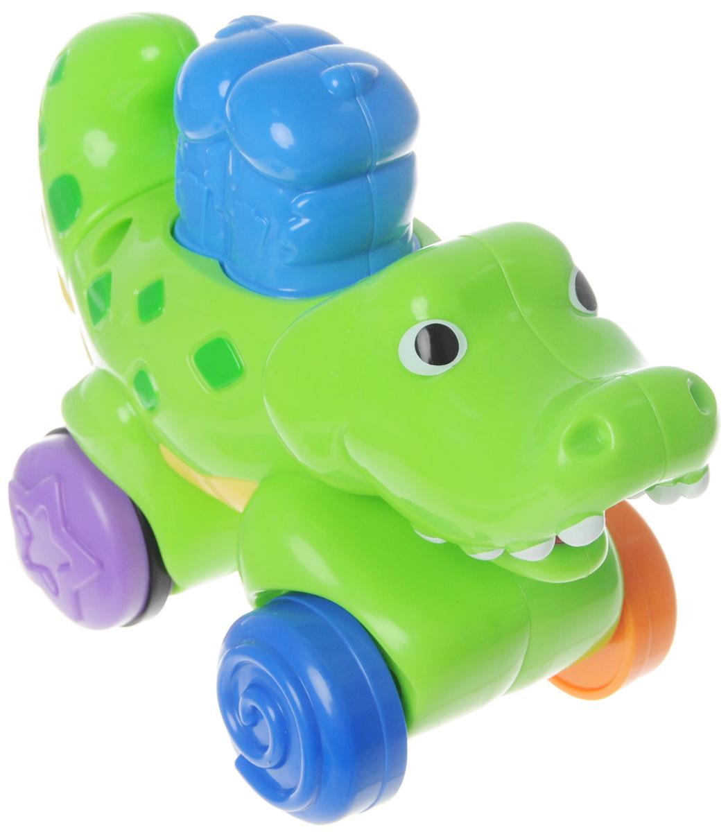 Fisher Price Развивающая игрушка КрокодилN8160_N8161Развивающая игрушка Fisher Price Крокодил - веселая игра с ползанием и догонялками! Игры с веселым животным порадуют ребенка. Когда ребенок нажмет на птичек, сидящих на спине крокодила, он весело покатится по полу, смыкая и размыкая свои челюсти. Игрушка развивает мелкую моторику - забавные щелкающие звуки поощряют малыша держать и поворачивать хвост крокодила, общую моторику - яркие крутящиеся колеса поощряют малыша ползать за игрушкой, укрепляя навыки общей моторики, поддержания равновесия и координацию, любознательность и тягу к новым свершениям. Обучает малыша причинно-следственным связям.