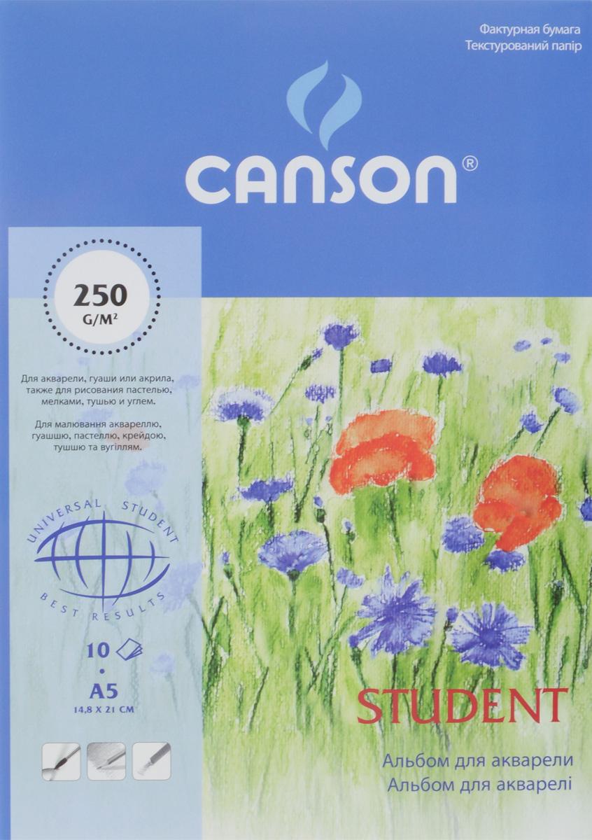 Альбом для акварели Canson Student, 10 листов, формат А5CN06152Альбом для рисования акварелью Canson Student - высококачественная бумаги белого цвета, изготовленная из 100% целлюлозы без применения кислот и оптических отбеливателей. Изделие имеет среднезернистую фактуру и на ней можно работать различными материалами: акварелью, гуашью, акрилом, мелками, а также в смешанных техниках. Рисование в таких альбомах доставит максимальное удовольствие художникам любого возраста. Обложка выполнена из мелованного картона с клеевым креплением. Рисование позволяет развивать творческие способности, кроме того, это увлекательный досуг. Размер листа: 14,8 х 21 см. Плотность: 250 г/м2.