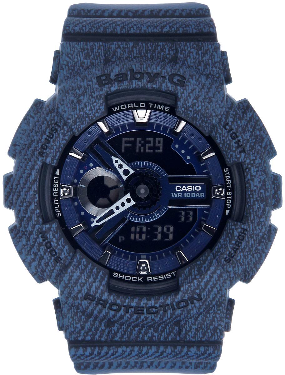 Часы наручные женские Casio Baby-G, цвет: синий. BA-110DC-2A1BA-110DC-2A1Многофункциональные часы Casio Baby-G, выполнены из металлического сплава, минерального стекла и полимерного материала. Часы оригинальной расцветки оформлены символикой бренда. Часы оснащены ударопрочным корпусом с электронно-механическим механизмом, имеют степень влагозащиты равную 10 BAR. Браслет часов оснащен застежкой-пряжкой, которая позволит с легкостью снимать и надевать изделие. Корпус часов оснащен светодиодной подсветкой. Дополнительные функции: таймер, будильник, функция повтора будильника, секундомер, функция мирового времени, автоматический календарь, отображение времени в 12-часовом или 24-часовом формате, функция включения/отключения звука кнопок. Часы поставляются в фирменной упаковке. Многофункциональные часы Casio Baby-G станут незаменимым аксессуаром для занятий спортом.
