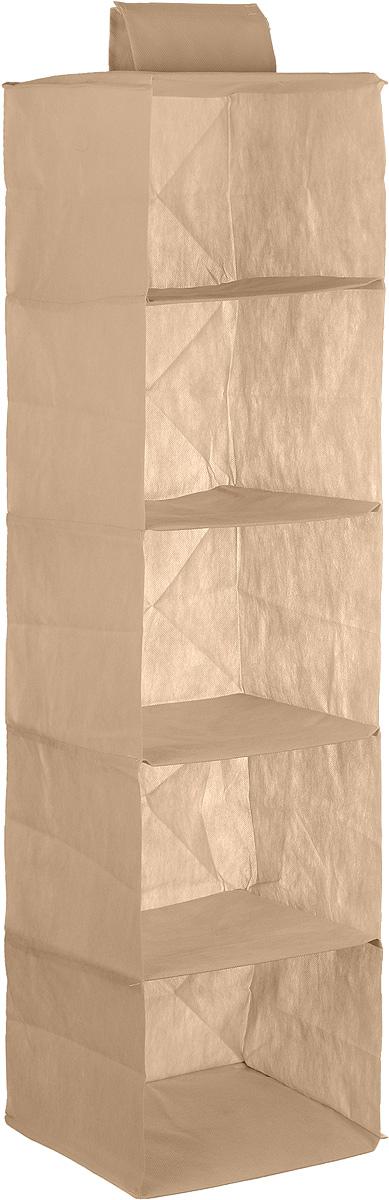 Кофр для хранения одежды Eva, 5 полок, 28 х 28 х 120 смА35_бежевыйКофр Eva - идеальное решение для хранения одежды, обуви и аксессуаров. Кофр выполнен из прочного нетканого материала, а каркас - из плотного картона, благодаря чему изделие не деформируется и отлично сохраняет форму. Кофр имеет 5 полок. Подвешивается на перекладину, закрепляется с помощью липучек. Такой кофр поможет с легкостью организовать пространство в шкафу или гардеробе.