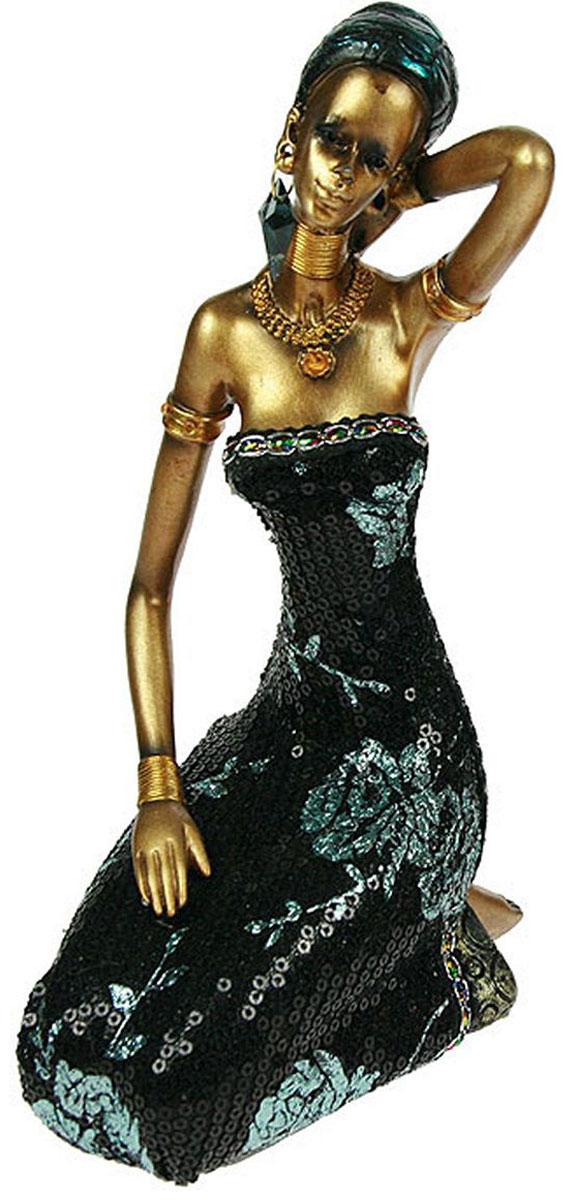 Статуэтка Русские Подарки Африканка, новый дизайн, 10 х 14 х 23 см26121_платье голубые цветы