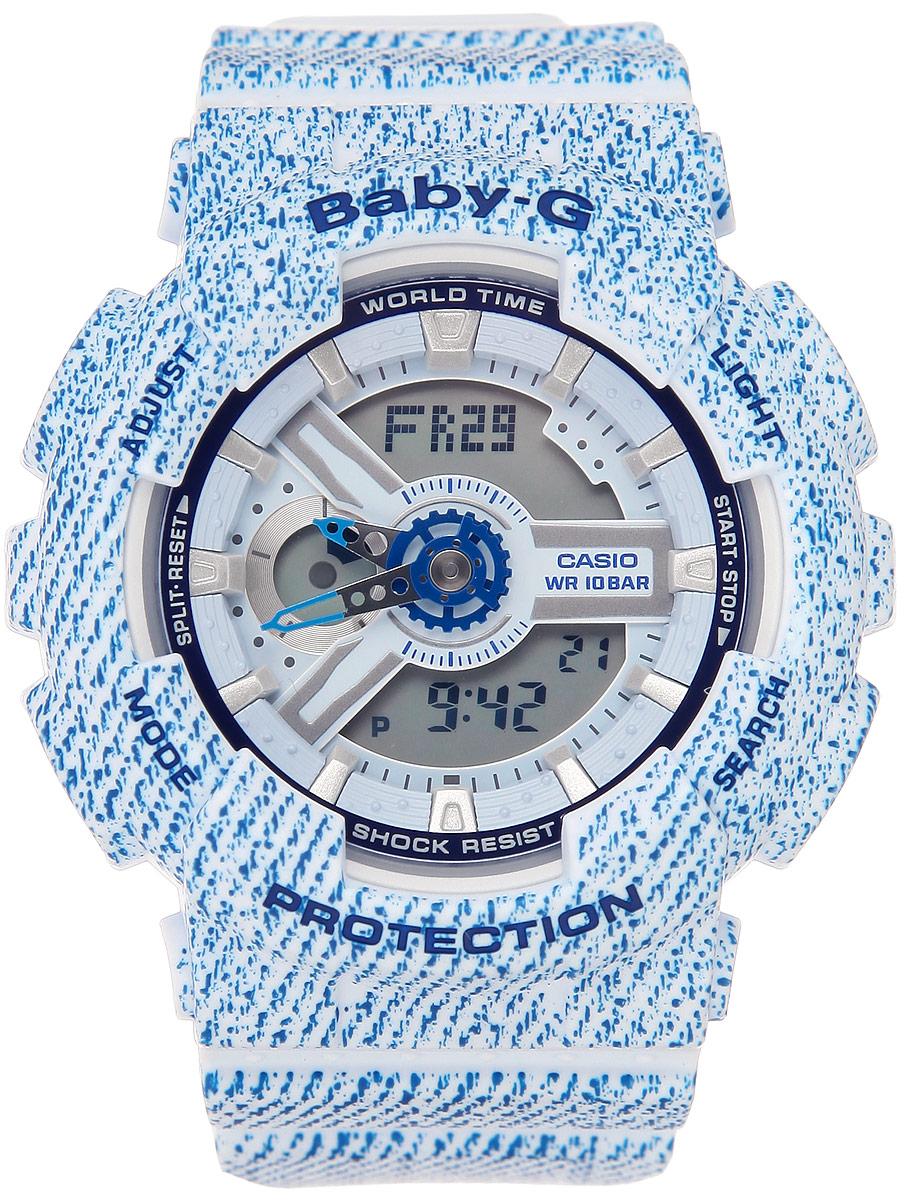 Часы наручные женские Casio Baby-G, цвет: голубой. BA-110DC-2A3BA-110DC-2A3Многофункциональные часы Casio Baby-G, выполнены из металлического сплава, минерального стекла и полимерного материала. Часы оригинальной расцветки оформлены символикой бренда. Часы оснащены ударопрочным корпусом с электронно-механическим механизмом, имеют степень влагозащиты равную 10 BAR. Браслет часов оснащен застежкой-пряжкой, которая позволит с легкостью снимать и надевать изделие. Корпус часов оснащен светодиодной подсветкой. Дополнительные функции: таймер, будильник, функция повтора будильника, секундомер, функция мирового времени, автоматический календарь, отображение времени в 12-часовом или 24-часовом формате, функция включения/отключения звука кнопок. Часы поставляются в фирменной упаковке. Многофункциональные часы Casio Baby-G станут незаменимым аксессуаром для занятий спортом.