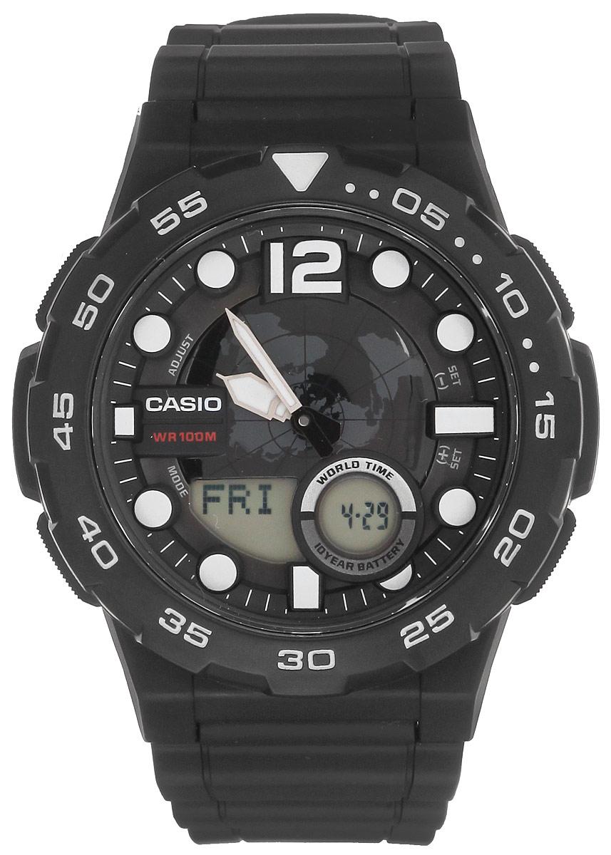 Часы наручные мужские Casio Collection, цвет: черный. AEQ-100W-1AAEQ-100W-1AМногофункциональные мужские часы Casio Collection, выполнены из минерального стекла, металлического сплава и полимерного материала. Корпус часов оформлен символикой бренда. Часы оснащены ударопрочным корпусом с электронно-механическим механизмом, имеют степень влагозащиты равную 10 BAR, а также дополнены устойчивым к царапинам минеральным стеклом. Браслет часов оснащен застежкой-пряжкой, которая позволит с легкостью снимать и надевать изделие. Корпус часов оснащен стрелками с светящимся составом. Дополнительные функции: таймер, будильник, функция повтора будильника, секундомер, функция мирового времени, автоматический календарь, отображение времени в 12-часовом или 24-часовом формате. Часы дополнены оригинальной и практичной функцией записная книжка, которая позволит сохранить 30 записей. Каждая запись может включать в себя текст из 8 букв и 12 цифр. Часы поставляются в фирменной упаковке. Многофункциональные часы Casio Collection подчеркнут отменное...