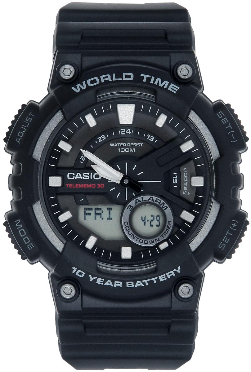 Часы наручные мужские Casio Collection, цвет: черный, серый. AEQ-110W-1AAEQ-110W-1AМногофункциональные мужские часы Casio Collection, выполнены из металлического сплава и полимерного материала. Корпус часов оформлен символикой бренда. Часы оснащены ударопрочным корпусом с электронно-механическим механизмом, имеют степень влагозащиты равную 10 BAR. Браслет часов оснащен застежкой-пряжкой, которая позволит с легкостью снимать и надевать изделие. Корпус часов оснащен стрелками с светящимся составом. Дополнительные функции: таймер, будильник, функция повтора будильника, секундомер, функция мирового времени, автоматический календарь, отображение времени в 12-часовом или 24-часовом формате. Часы дополнены оригинальной и практичной функцией записная книжка, которая позволит сохранить 30 записей. Каждая запись может включать в себя текст из 8 букв и 12 цифр. Часы поставляются в фирменной упаковке. Многофункциональные часы Casio Collection подчеркнут отменное чувство стиля своего обладателя.