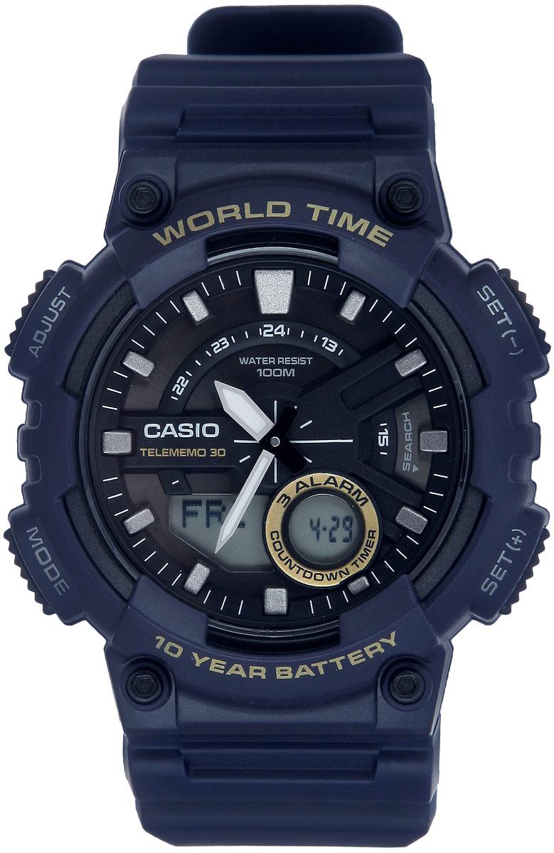 Часы наручные мужские Casio Collection, цвет: синий. AEQ-110W-2AAEQ-110W-2AМногофункциональные мужские часы Casio Collection, выполнены из металлического сплава и полимерного материала. Корпус часов оформлен символикой бренда. Часы оснащены ударопрочным корпусом с электронно-механическим механизмом, имеют степень влагозащиты равную 10 BAR. Браслет часов оснащен застежкой-пряжкой, которая позволит с легкостью снимать и надевать изделие. Корпус часов оснащен стрелками с светящимся составом. Дополнительные функции: таймер, будильник, функция повтора будильника, секундомер, функция мирового времени, автоматический календарь, отображение времени в 12-часовом или 24-часовом формате. Часы дополнены оригинальной и практичной функцией записная книжка, которая позволит сохранить 30 записей. Каждая запись может включать в себя текст из 8 букв и 12 цифр. Часы поставляются в фирменной упаковке. Многофункциональные часы Casio Collection подчеркнут отменное чувство стиля своего обладателя.
