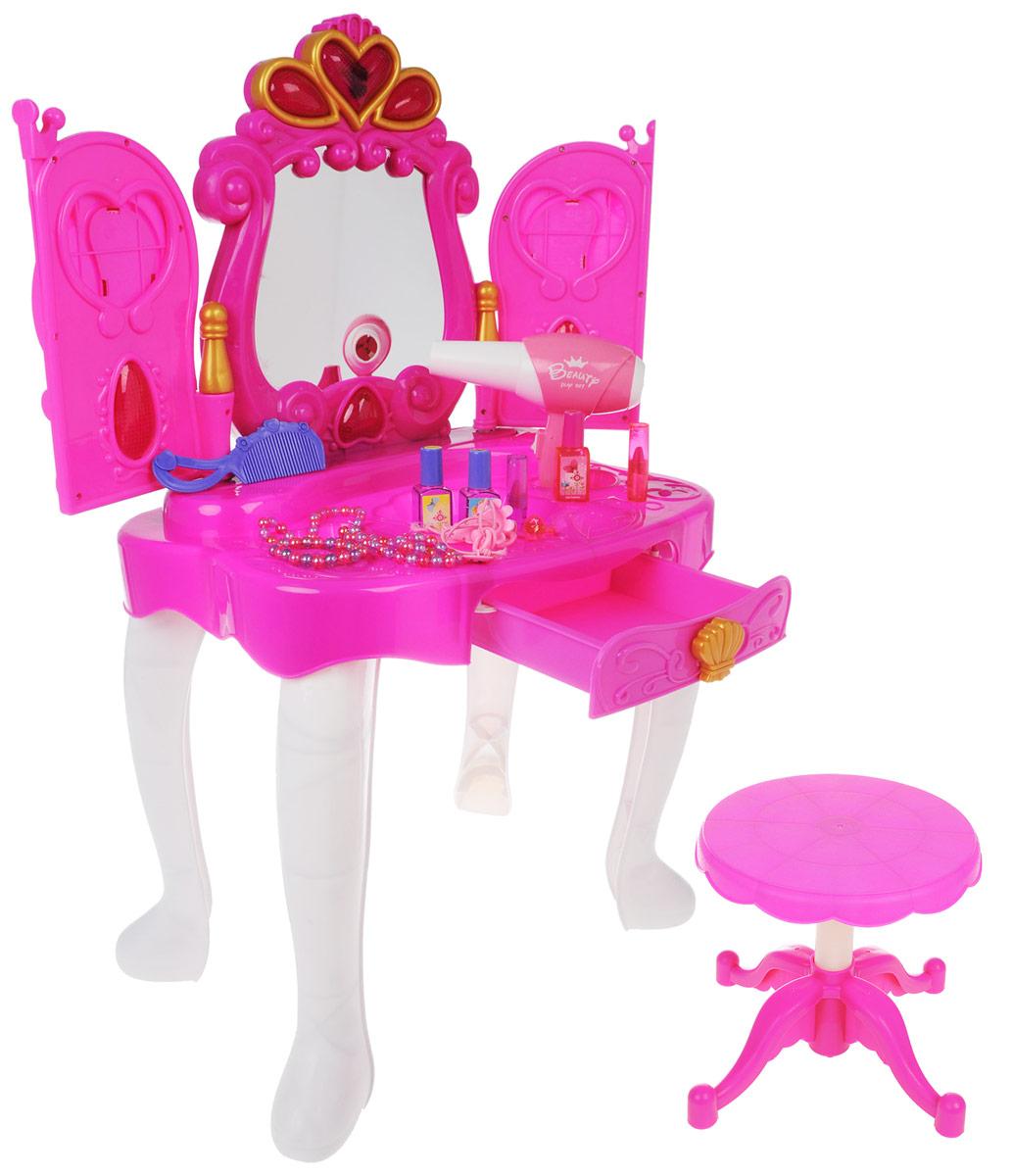 Altacto Интерактивное трюмо Прекрасная принцессаALT0202-103Позвольте вашей девочке почувствовать себя принцессой с интерактивным трюмо Altacto Прекрасная принцесса. Стоит лишь махнуть рукой - створки зеркала открываются и закрываются благодаря сенсорному датчику, реагирующему на движения. В зеркале появляется принцесса. Все это происходит под звуковые и световые эффекты. Ящик в столе выдвигается - в нем можно хранить свои украшения. В комплект входят элементы для сборки трюмо и стульчика, а также фен со звуковыми эффектами, аксессуары (3 лака для ногтей, 2 помады, 2 резинки для волос, 2 кольца, расческа, ожерелье и браслеты). В дверцы трюмо можно вставить свое фото или картинки принцессы. Все элементы изделия изготовлены из высококачественного материала. Порадуйте своего ребенка таким замечательным подарком! Для работы трюмо необходимо купить 3 батарейки напряжением 1,5V типа АА (не входят в комплект); для работы фена одну батарейку напряжением 1,5V типа АА (не входит в комплект).