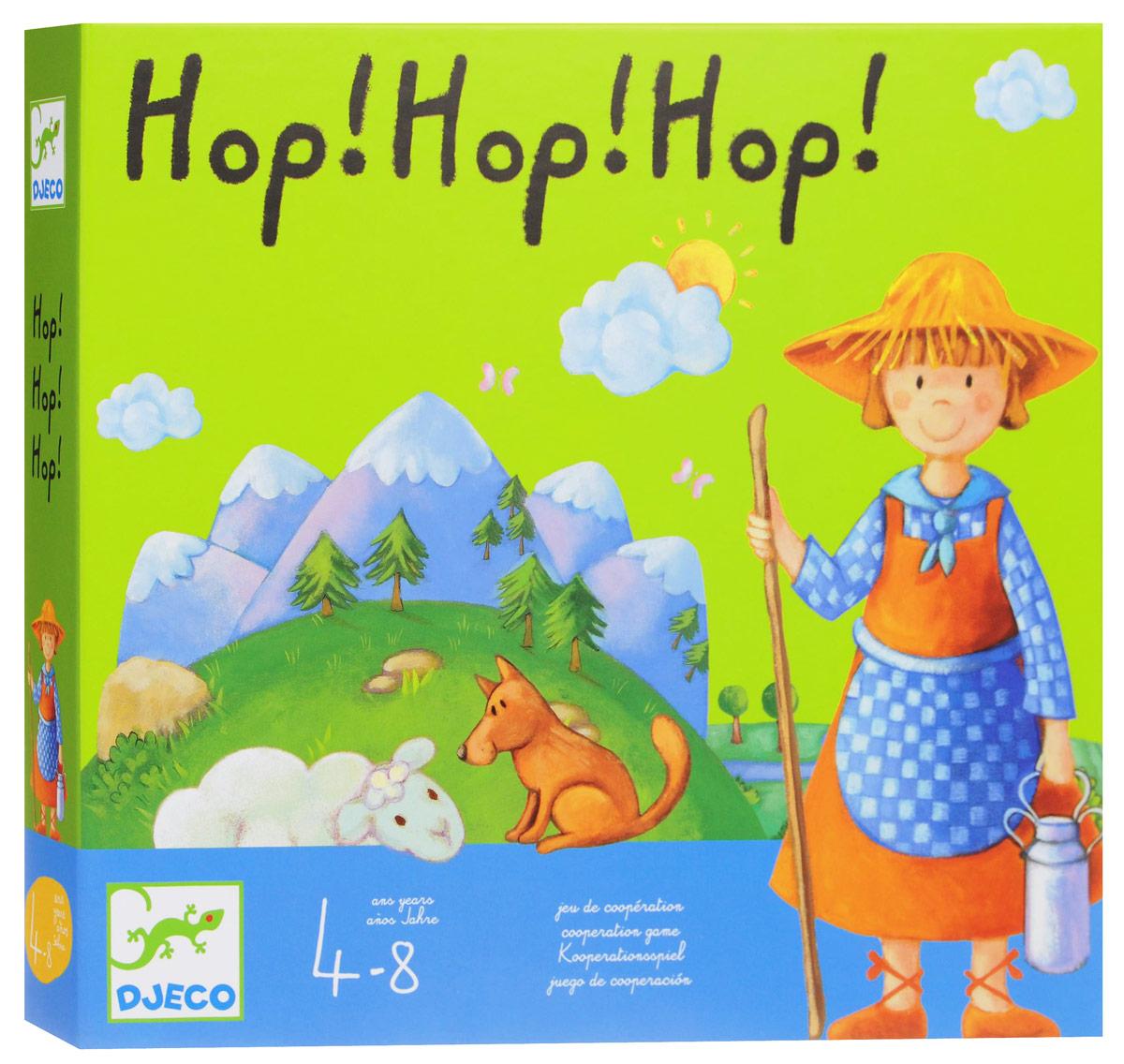 Djeco Настольная игра Хоп, хоп, хоп!08408Настольная игра Djeco Хоп, хоп, хоп! позволит весело и полезно провести время. Помоги пастушке и овцам! Играем все вместе против ветра! Пастушка, ее овцы и овчарка должны вернуться в убежище. Перед игрой все овечки, пастушка и собака размещаются на поле с изображением горы. Игровая задача - переместить в овчарню пастушку, ее овец и собаку, пока ветер не унес мост. Участники выигрывают все вместе, если они смогли справиться с задачей. Каждый участник в свой ход бросает кубик и выполняет действие, обозначенное на кубике символом (солнце - любая фигурка передвигается к следующей игровой площадке, ветер - палочкой убирается одна опора из под моста и т.д.). У ребёнка развивается мелкая моторика пальцев, развивается аккуратность, развивается логическое мышление.