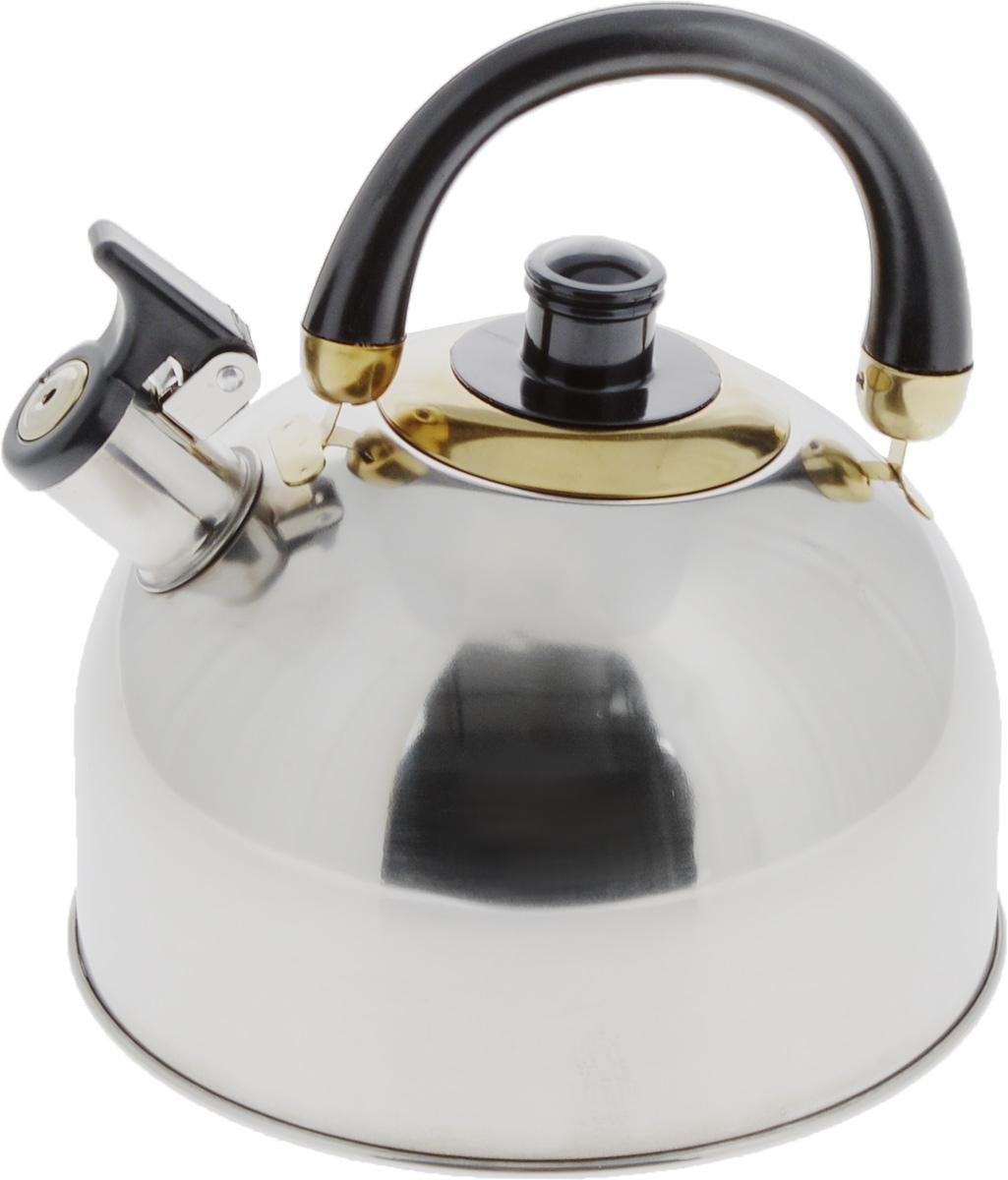 Чайник Mayer & Boch, со свистком, цвет: стальной, золотистый, черный, 3,5 л. 10691069chЧайник Mayer & Boch выполнен из высококачественной нержавеющей стали, что делает его весьма гигиеничным и устойчивым к износу при длительном использовании. Капсулированное дно с прослойкой из алюминия обеспечивает наилучшее распределение тепла. Носик чайника оснащен насадкой-свистком, что позволит вам контролировать процесс подогрева или кипячения воды. Подвижная ручка, изготовленная из бакелита, делает использование чайника очень удобным и безопасным. Поверхность гладкая, что облегчает уход за ним. Эстетичный и функциональный, с эксклюзивным дизайном, чайник будет оригинально смотреться в любом интерьере. Подходит для газовых, электрических, стеклокерамических и галогеновых плит. Не подходит для индукционных плит. Можно мыть в посудомоечной машине. Высота чайника (без учета ручки и крышки): 13 см. Высота чайника (с учетом ручки и крышки): 21,5 см. Диаметр чайника (по верхнему краю): 8,5 см.