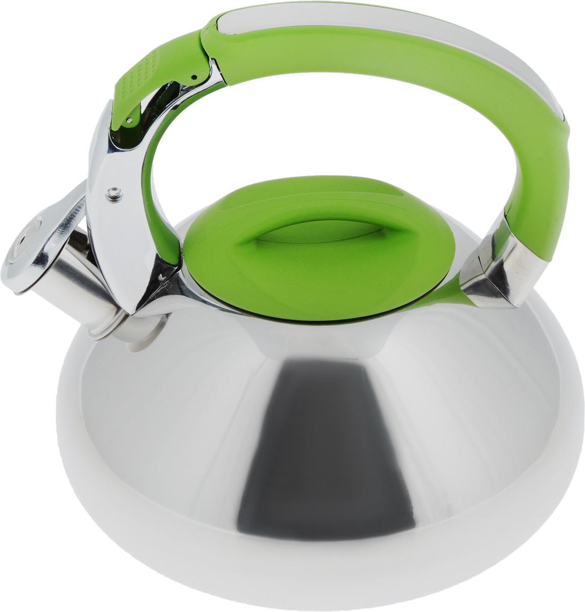 Чайник Mayer & Boch, со свистком, цвет: зеленый, 2,9 л. 2359123591Чайник Mayer & Boch выполнен из высококачественной нержавеющей стали, что обеспечивает долговечность использования. Внешнее зеркальное покрытие придает приятный внешний вид. Фиксированная ручка из нейлона делает использование чайника очень удобным и безопасным. Чайник снабжен свистком и устройством для открывания носика, которое находится на ручке. Можно мыть в посудомоечной машине. Пригоден для всех видов плит, включая индукционные. Высота чайника (без учета крышки и ручки): 11,5 см. Высота чайника (с учетом ручки и крышки): 21,5 см. Диаметр по верхнему краю: 10 см.