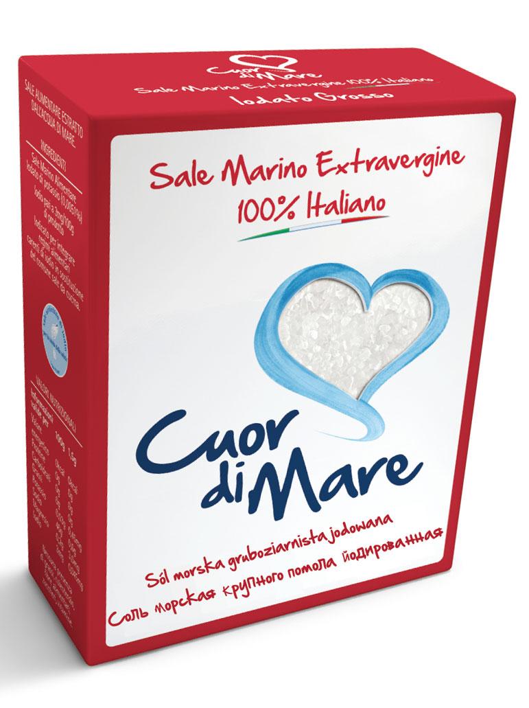 Cuor di Mare cоль морская йодированная крупного помола, 1 кг
