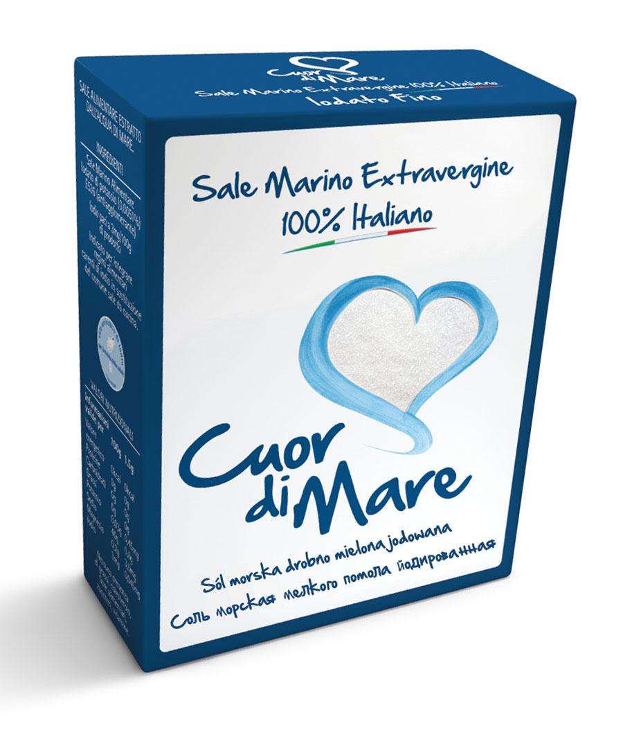 Cuor di Mare cоль морская пищевая йодированная мелкого помола, 1 кг