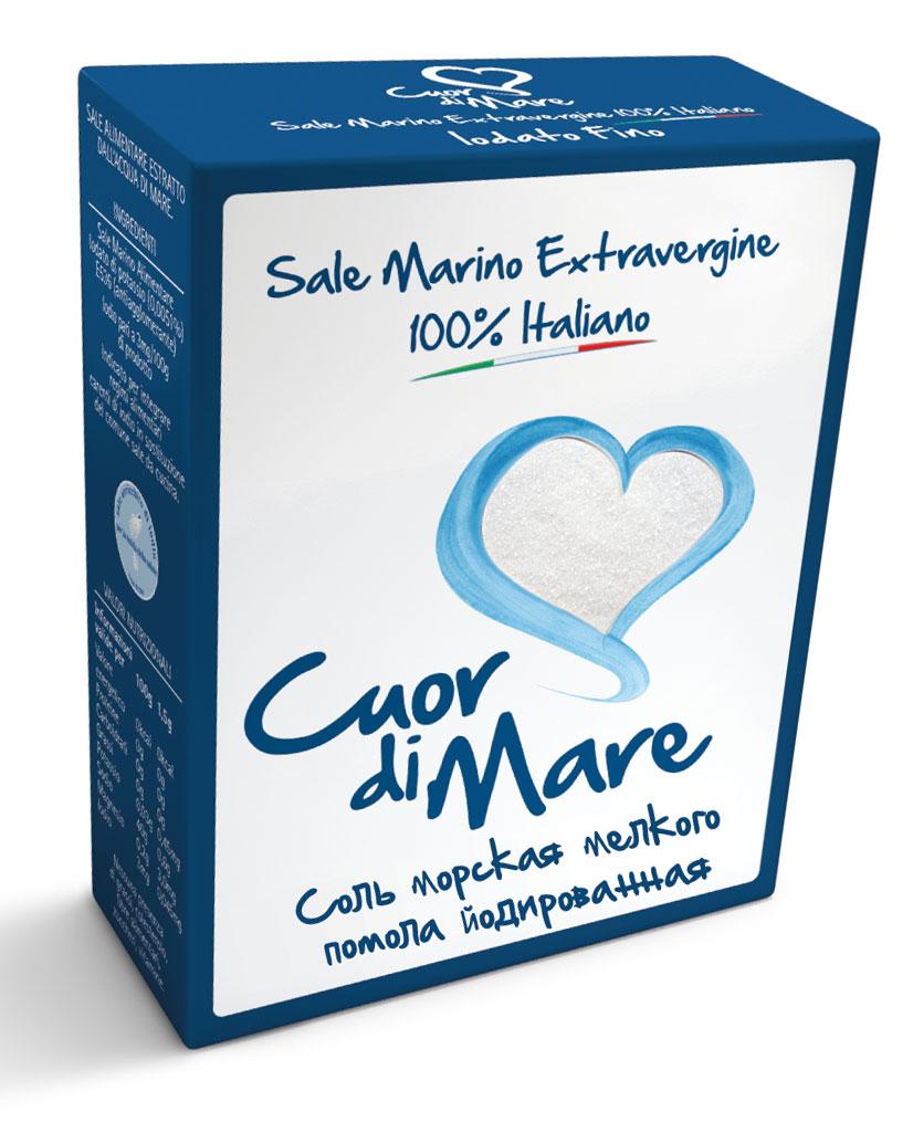 Cuor di Mare cоль морская пищевая йодированная мелкого помола, 500 г бегемотик арнольд школьный рюкзак а4