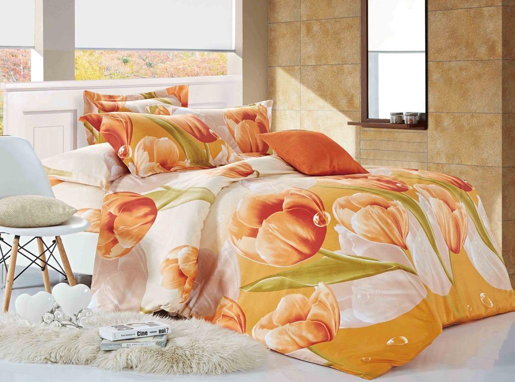 Комплект белья ЭГО Май, 1,5-спальный, наволочки 70х70, цвет: бежевый. э-2006-01э-2006-01Материал - полисатин (50% хлопок, 50% полиэстер)