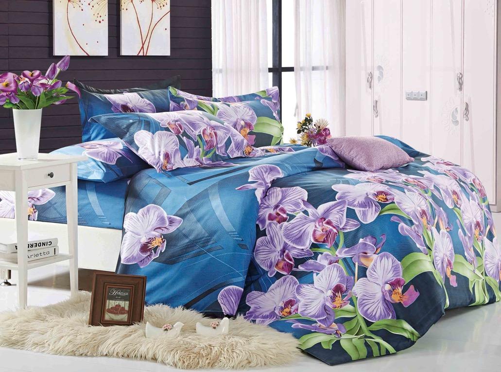 Комплект белья ЭГО Орхидеи, 1,5-спальный, наволочки 70х70, цвет: синий. э-2008-01э-2008-01Материал - полисатин (50% хлопок, 50% полиэстер)