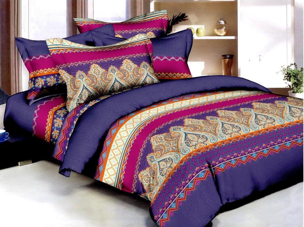 Комплект белья ЭГО Этро, 1,5-спальный, наволочки 70х70, цвет: фиолетовый. э-2009-01э-2009-01Материал - полисатин (50% хлопок, 50% полиэстер)