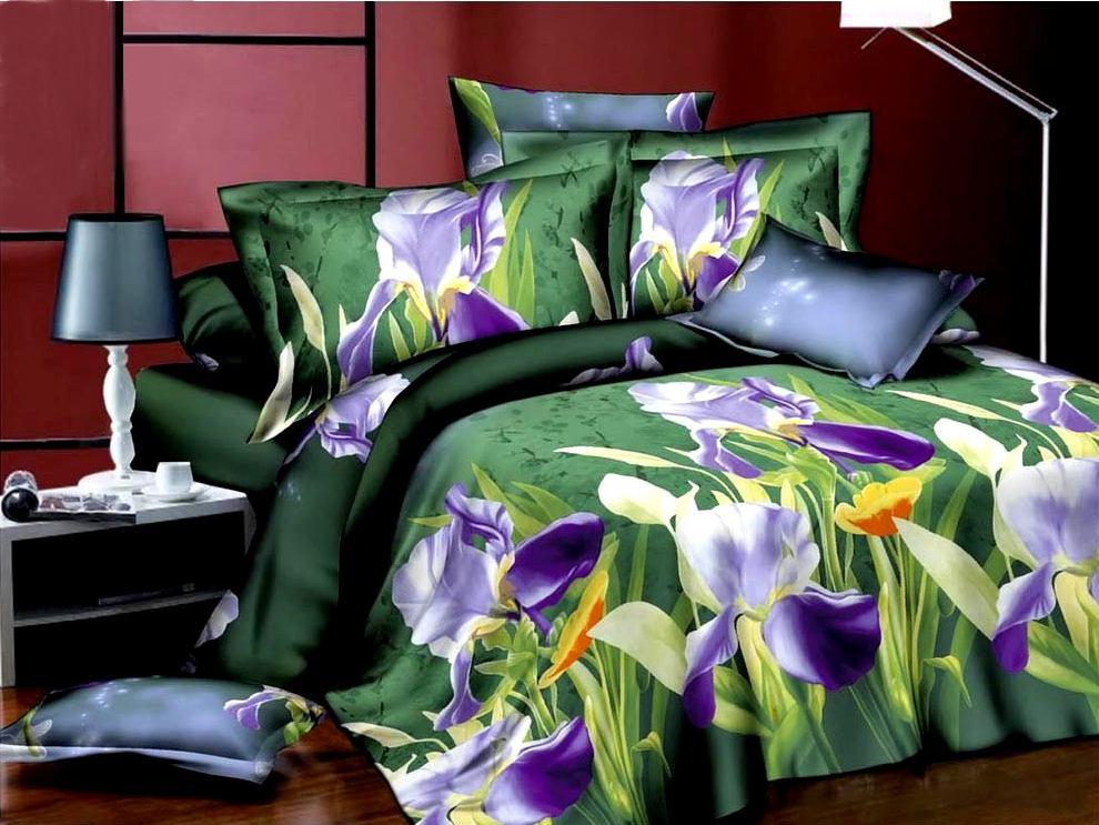 Комплект белья ЭГО Брайт, 1,5-спальный, наволочки 70х70, цвет: зеленый. э-2011-01э-2011-01Материал - полисатин (50% хлопок, 50% полиэстер)